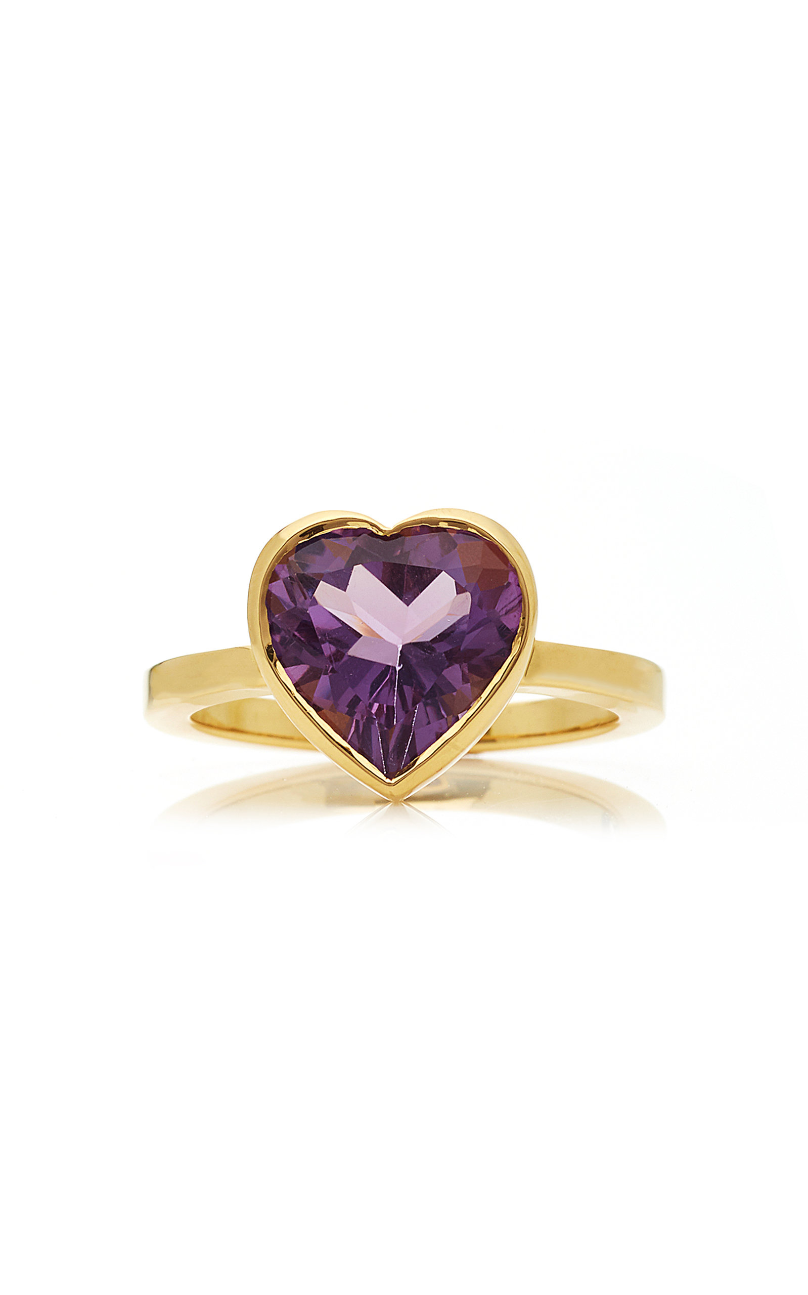Women's Large Heart 18K Gold and Amethyst Ring