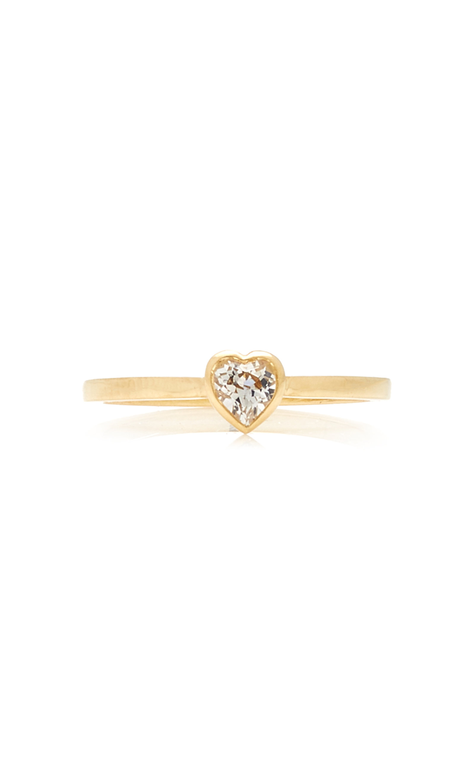 Women's Tiny Heart 18K Gold and Topaz Ring