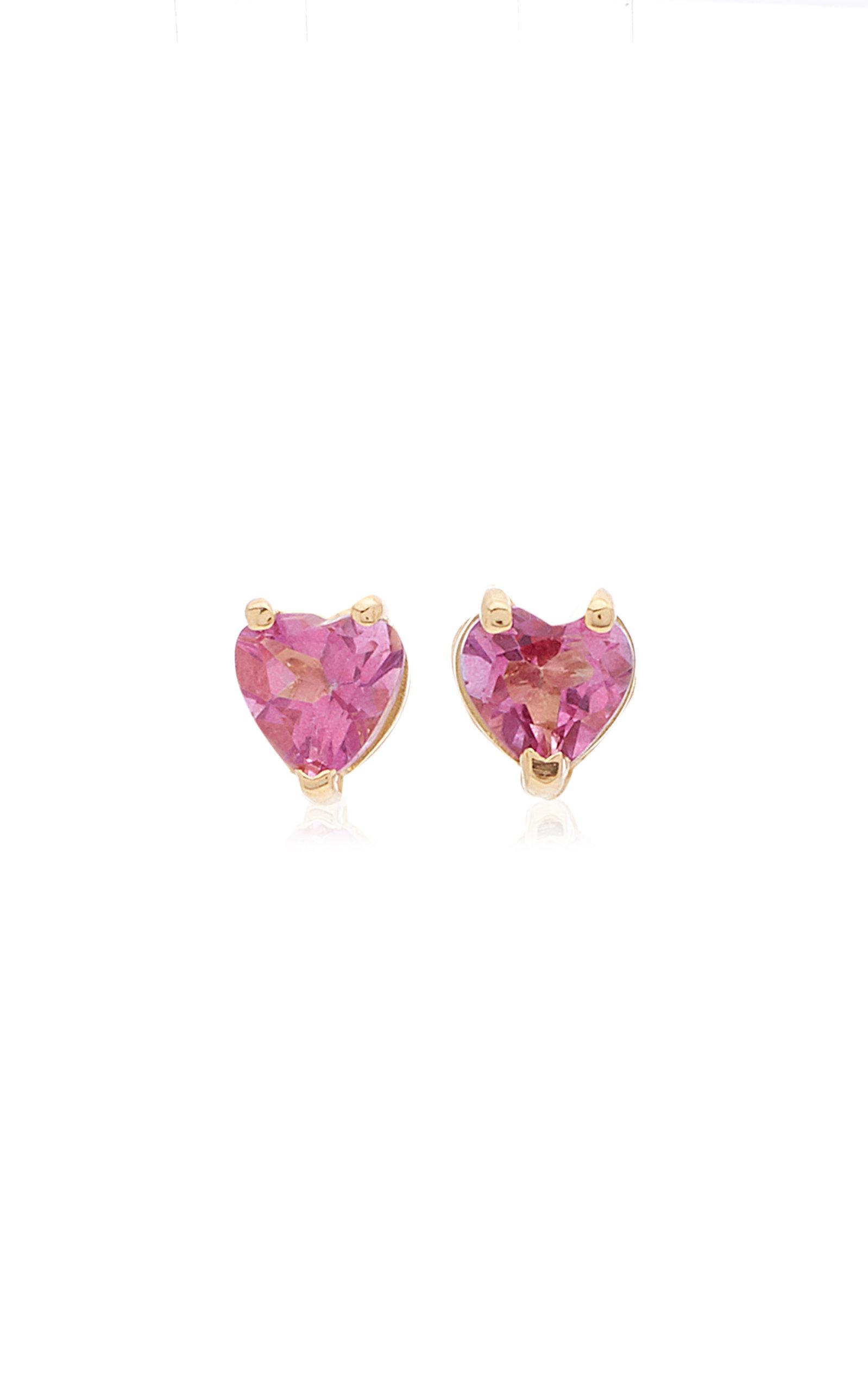 Women's Tiny Heart 18K Gold and Topaz Earrings