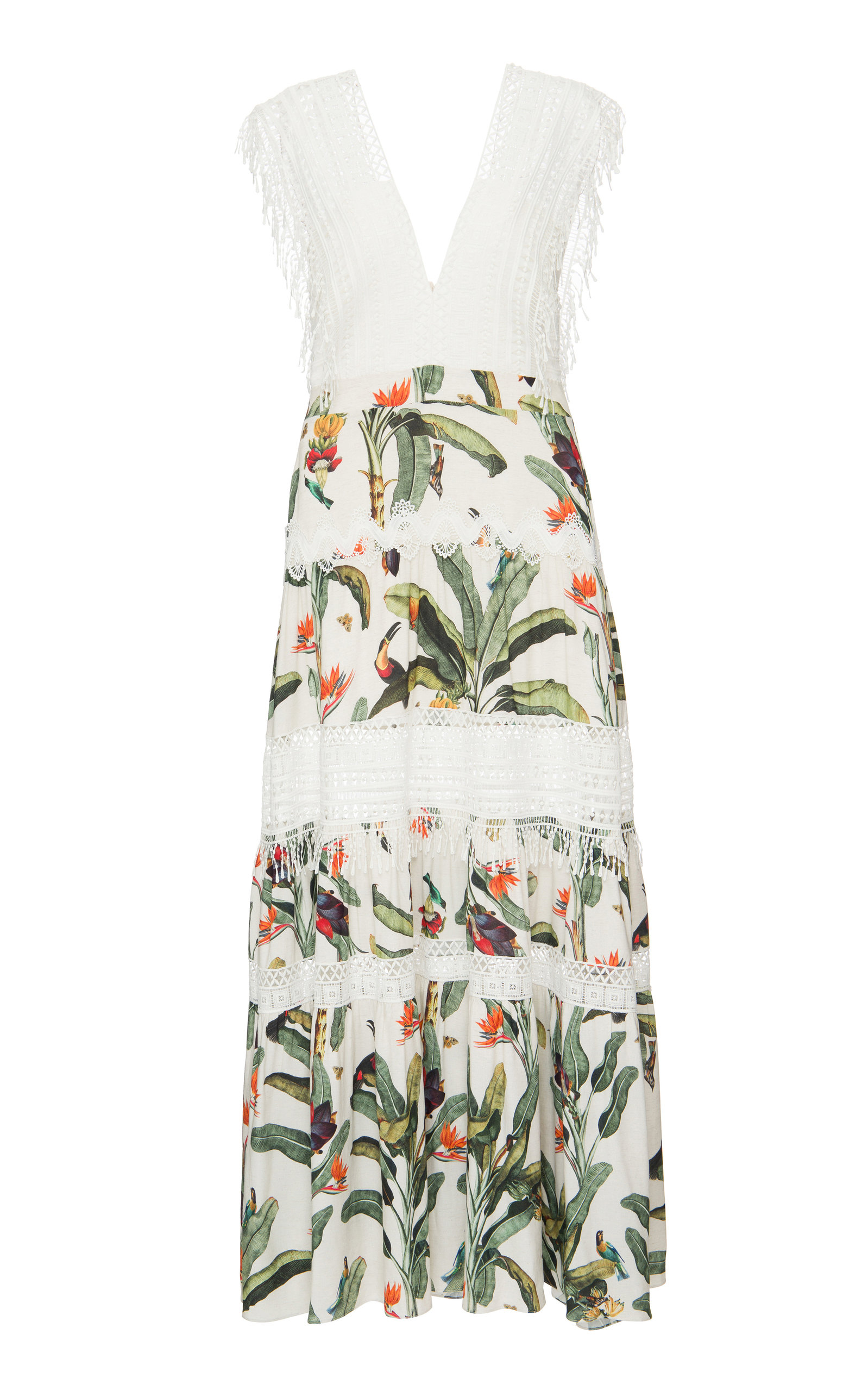Buy PatBO Tropical Print Lace Trim Maxi Dress online, shop PatBO at the best price