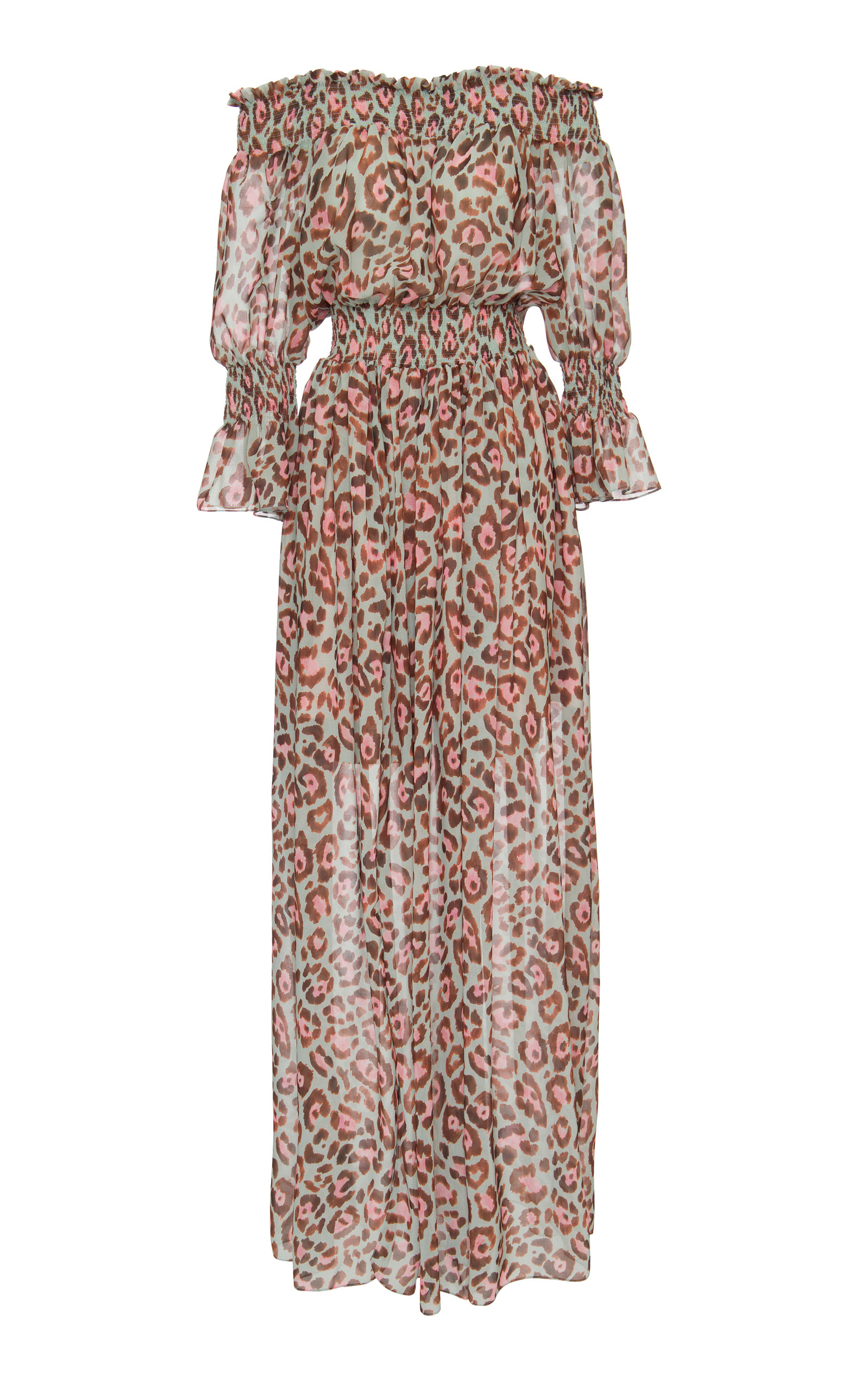 Buy PatBO Leopard Print Off-The-Shoulder Maxi Dress online, shop PatBO at the best price