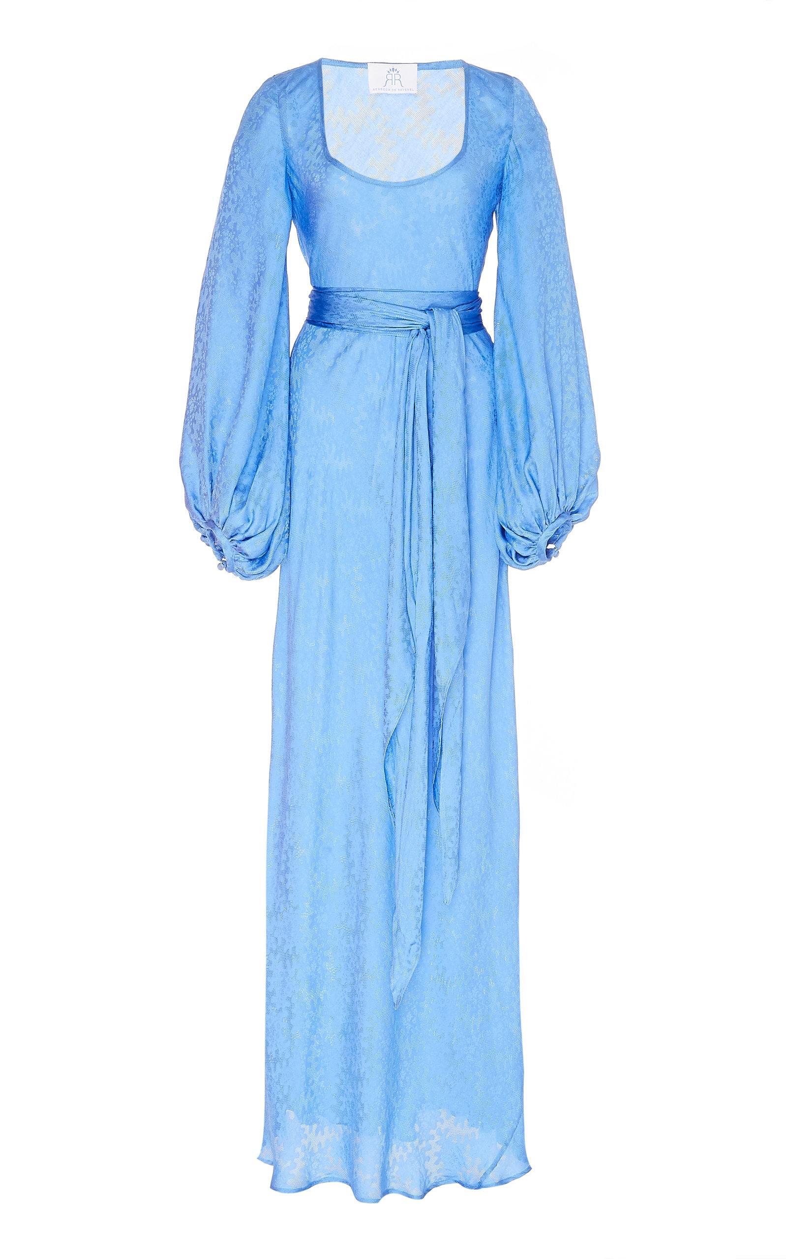 Buy Rebecca de Ravenel Bias Belted Silk-Jacquard Maxi Dress online, shop Rebecca de Ravenel at the best price