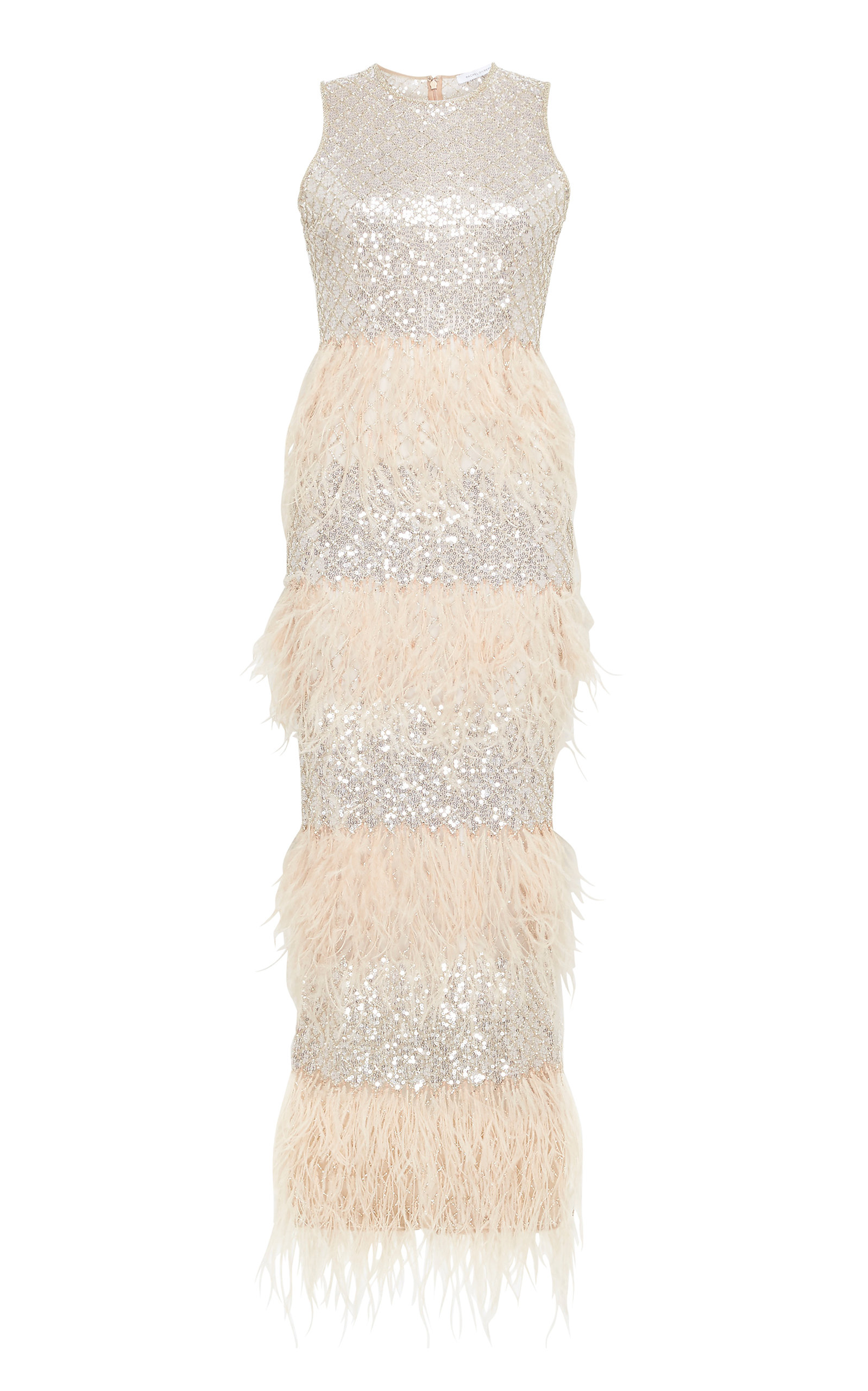 Buy Rachel Gilbert Dixie Feather-Embellished Georgette Gown online, shop Rachel Gilbert at the best price