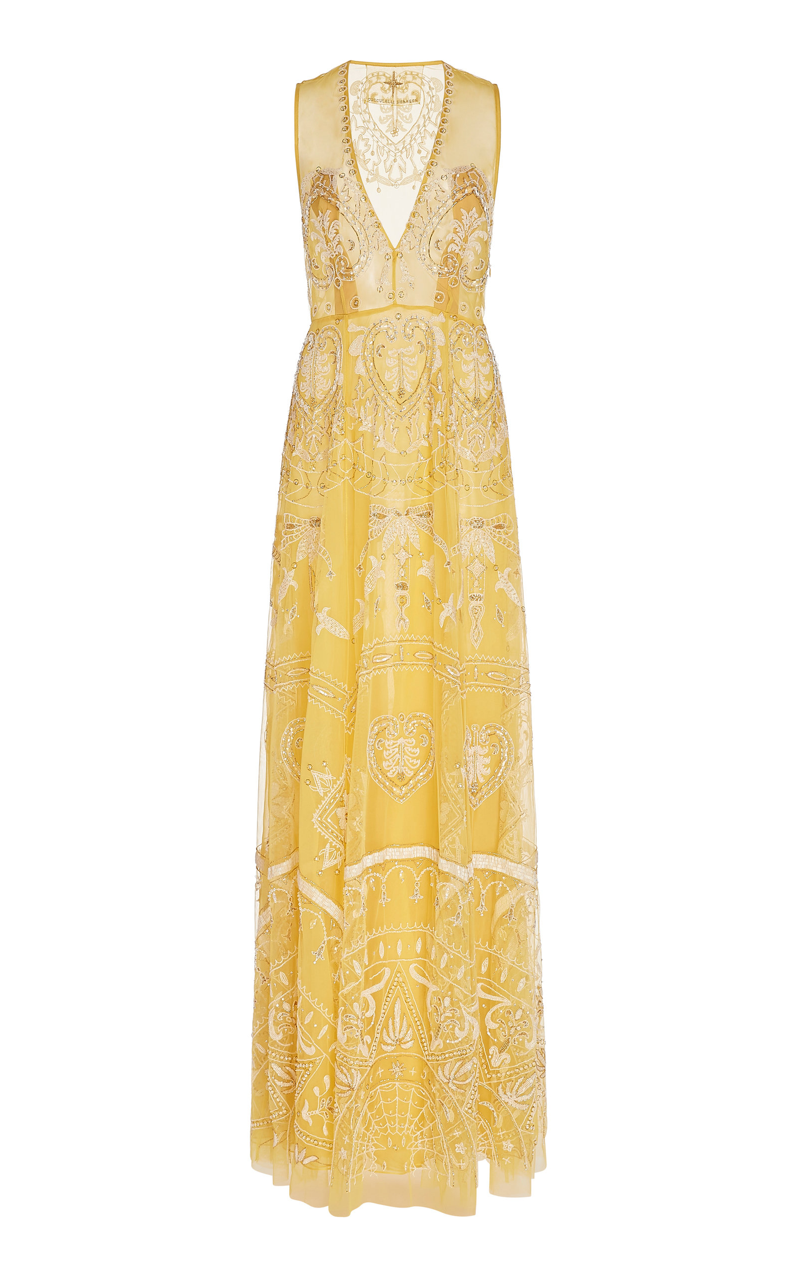 Buy Cucculelli Shaheen Incendita A-Line Embroidered Tulle Dress online, shop Cucculelli Shaheen at the best price