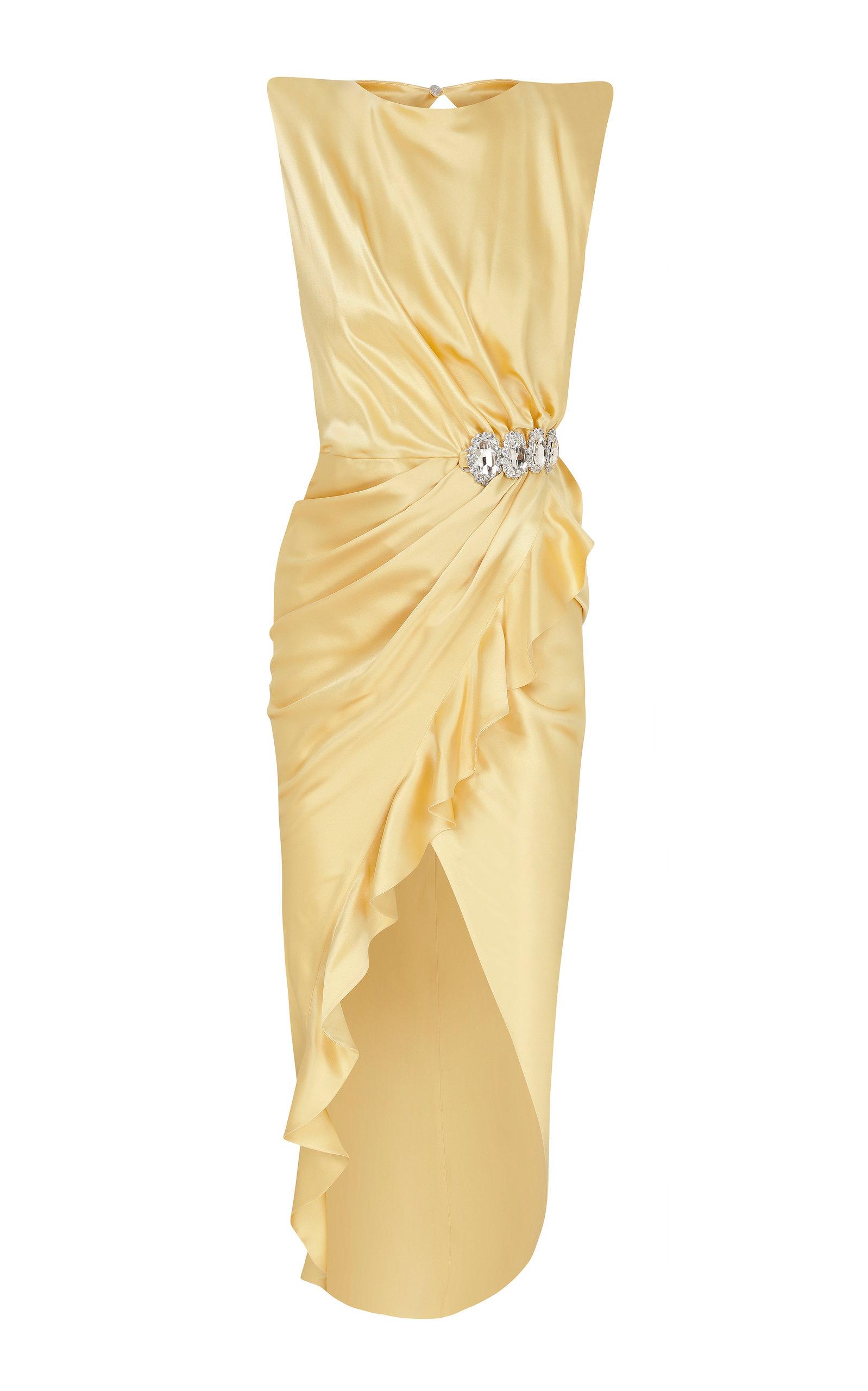 Buy Raisa Vanessa Crystal-Embellished Silk Sateen Midi Dress online, shop Raisa Vanessa at the best price