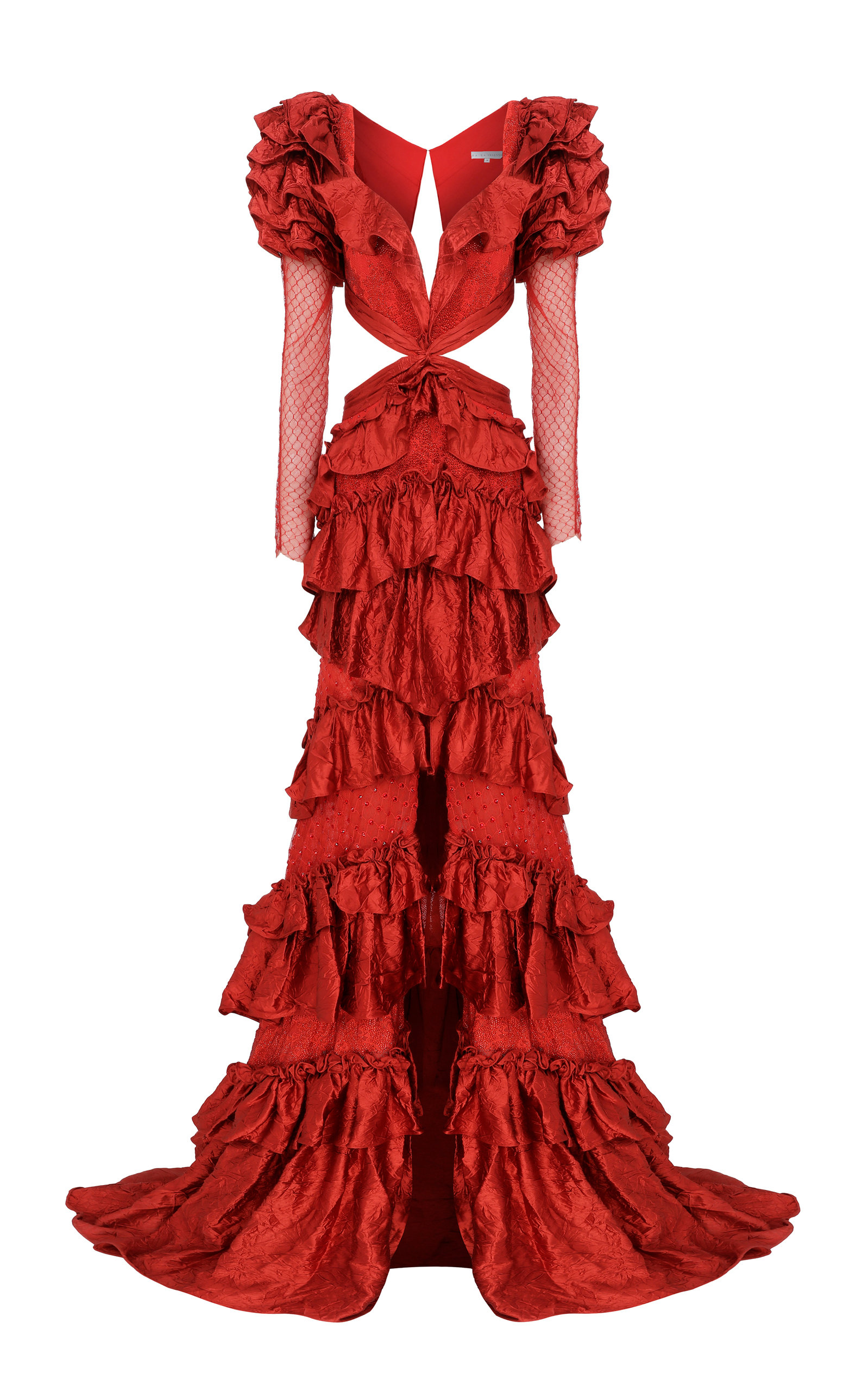 Buy Raisa Vanessa Red Maxi Dress With Lace Detailed And Ruffles online, shop Raisa Vanessa at the best price