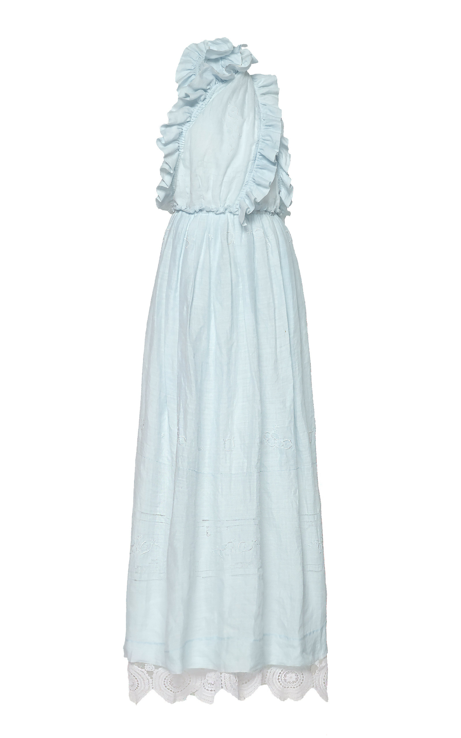 Buy nevenka Loyalty Halter Ruffle-Trimmed Cotton-Voile Dress online, shop nevenka at the best price