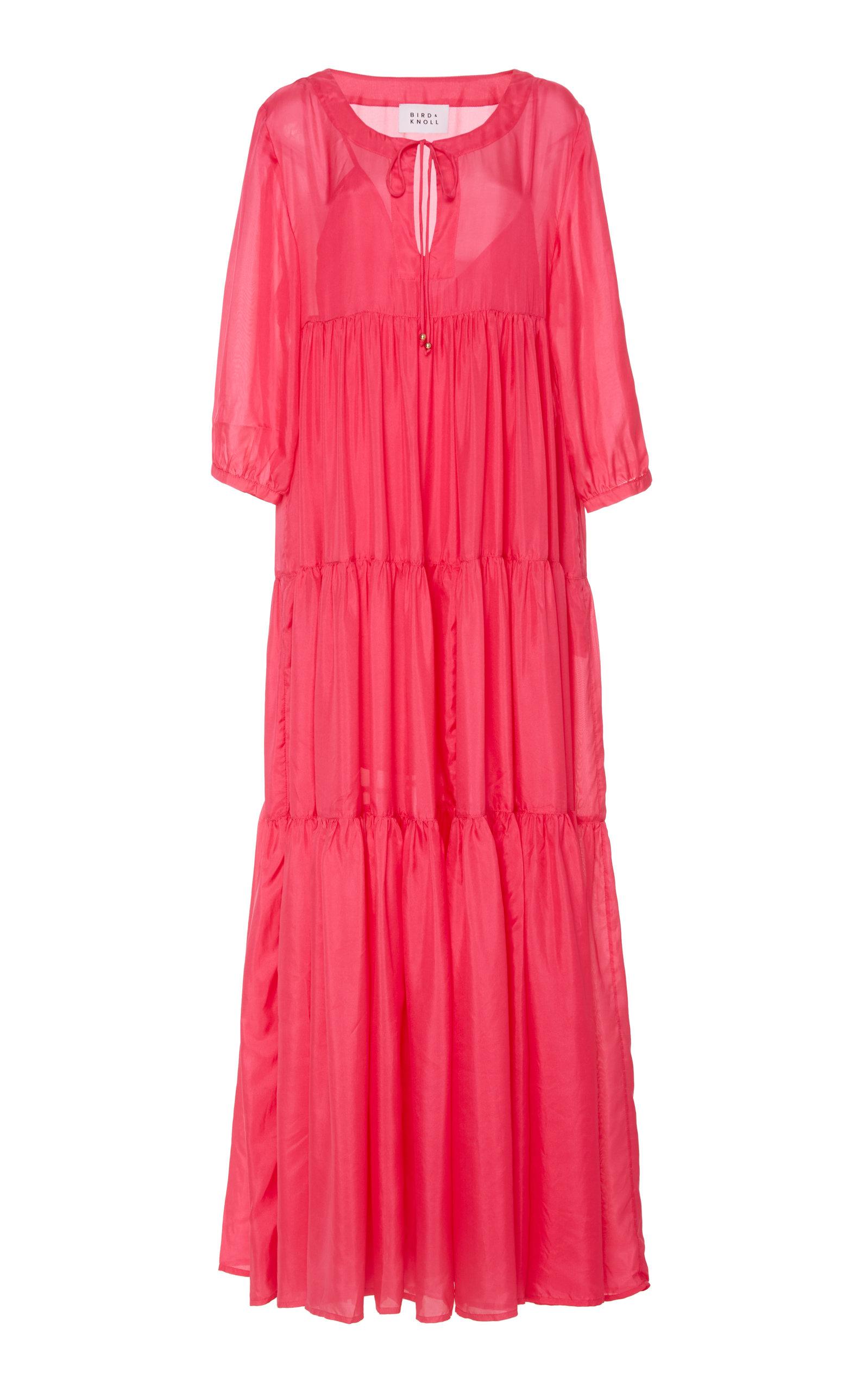 Buy Bird & Knoll Evie Tiered Silk Maxi Dress online, shop Bird & Knoll at the best price