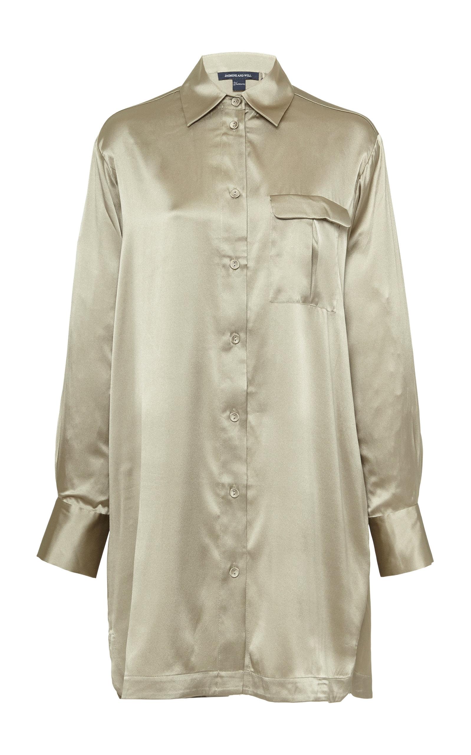 Jasmine and Will – Women's Long Sleeved Silk-Blend Sleep Shirt – Green – Moda Operandi
