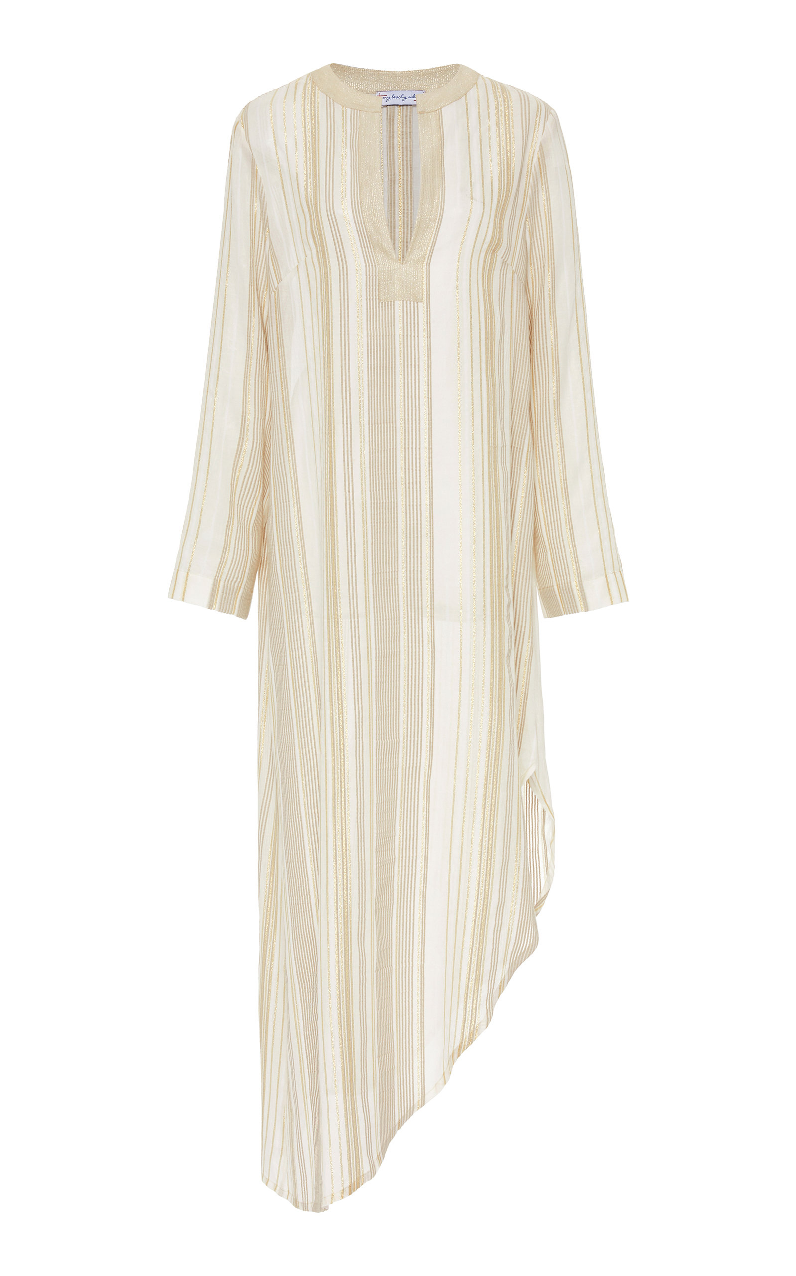 Buy MY BEACHY SIDE Kafciz Asymmetric Striped Cotton Midi Dress online, shop MY BEACHY SIDE at the best price