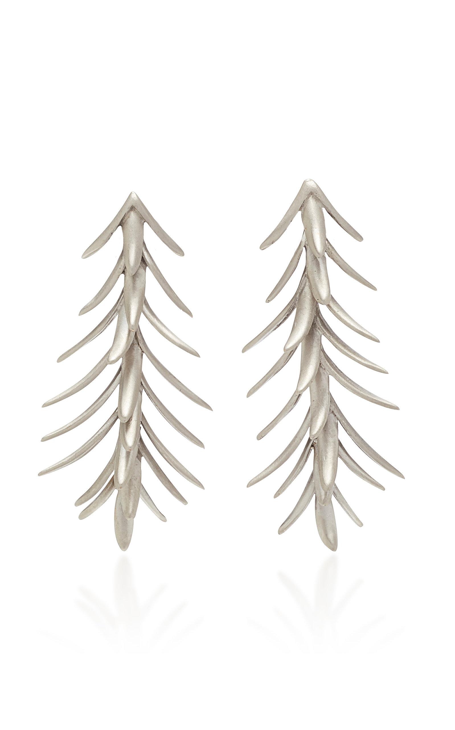 Women's Palm White Gold Earrings