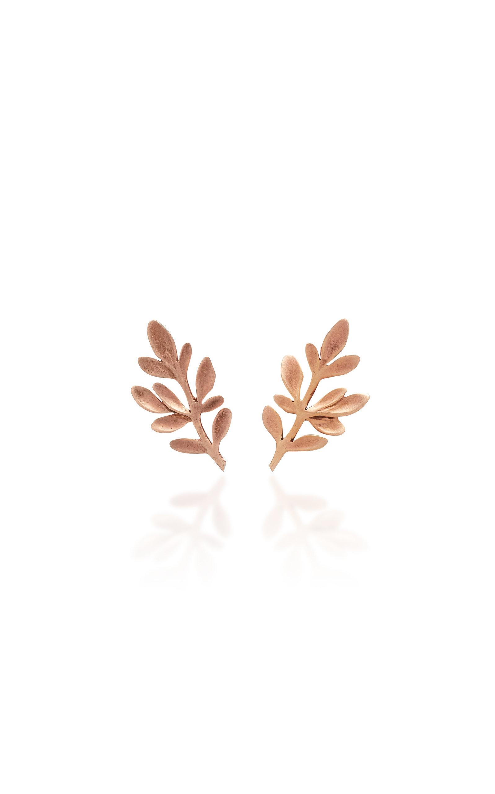 Women's Palm Rose Gold Stud Earrings