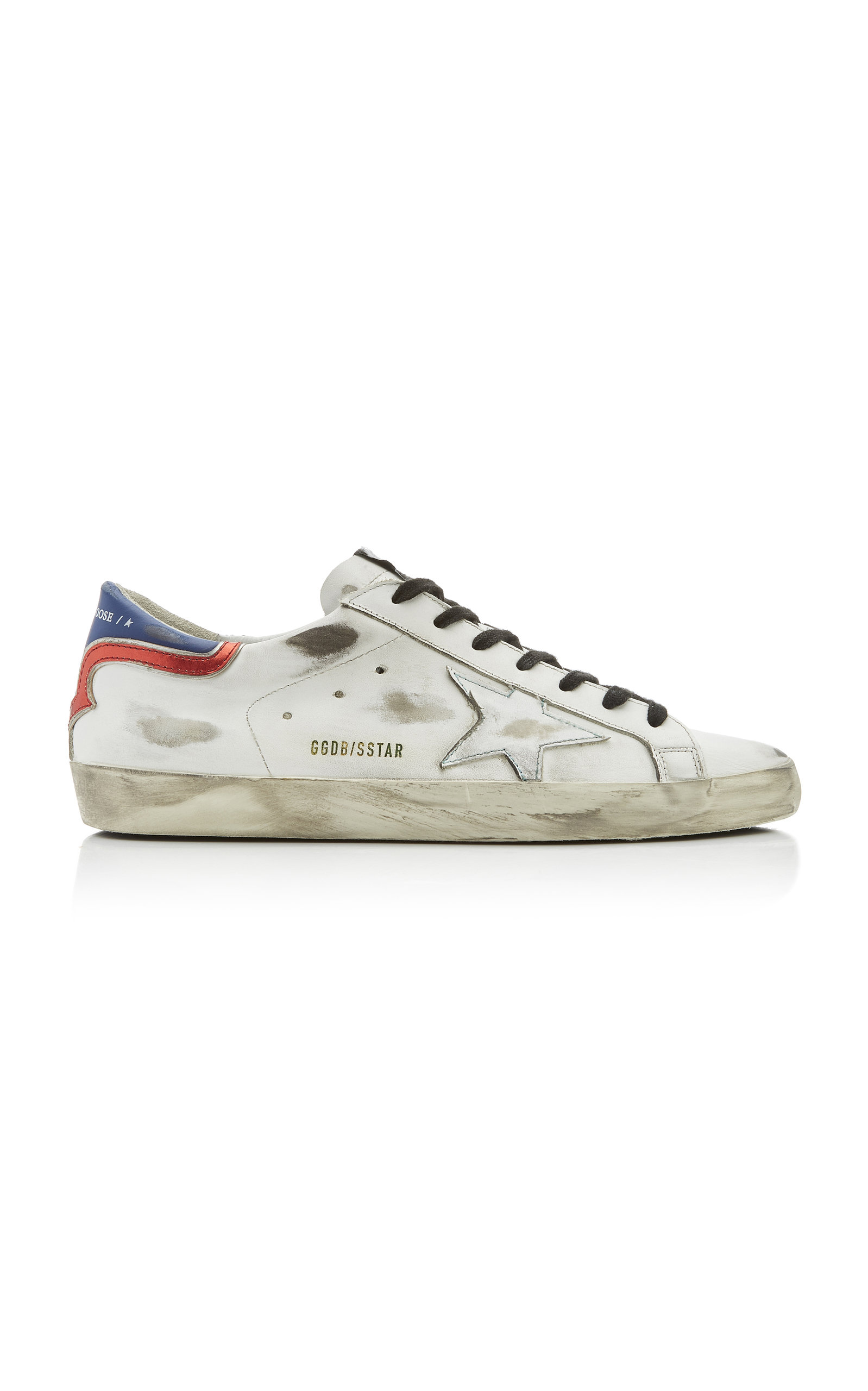 Golden Goose Leathers SUPERSTAR DISTRESSED LEATHER SNEAKERS