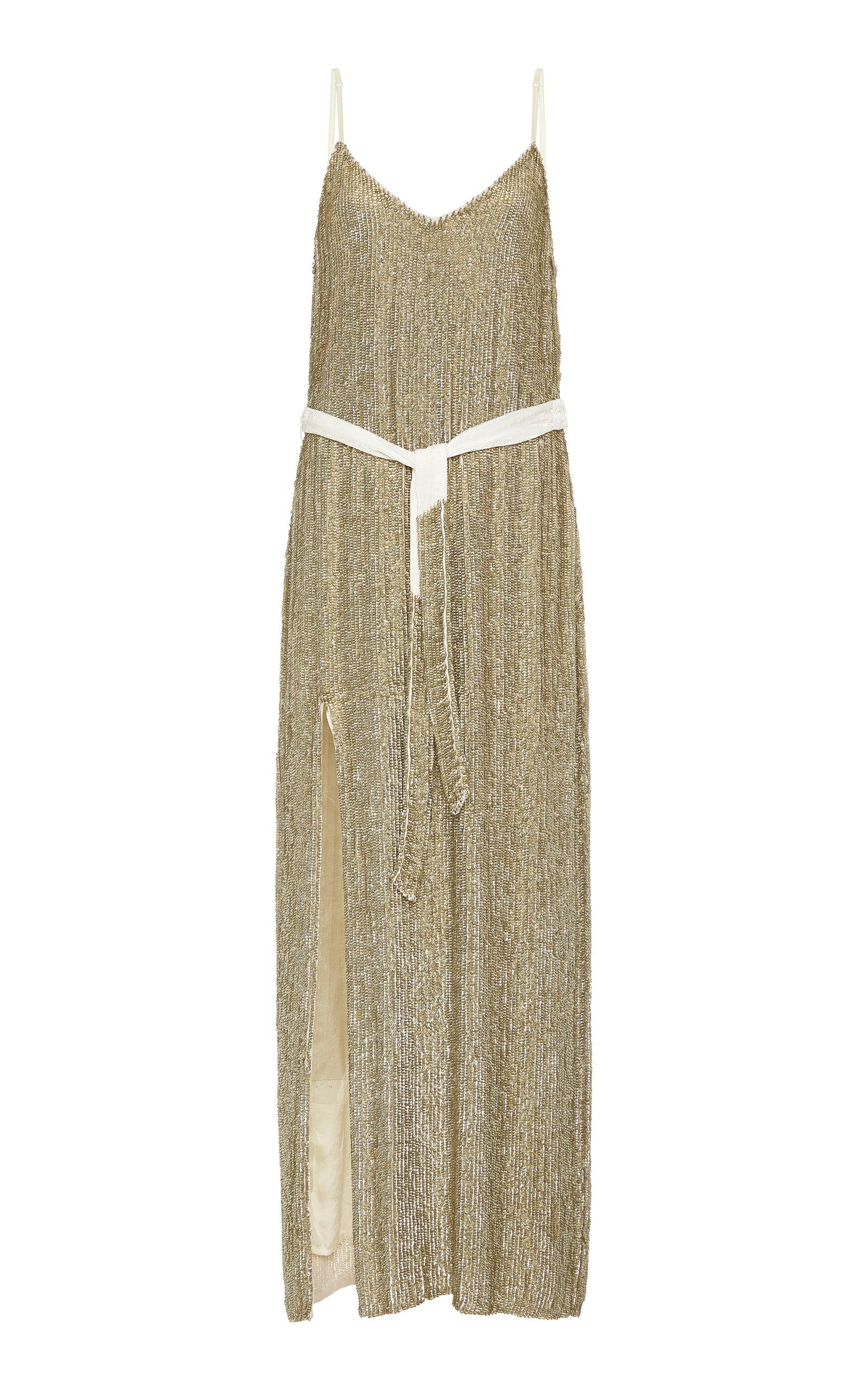 Buy Retrofête Rebecca Belted Sequined Satin Maxi Dress online, shop Retrofête at the best price