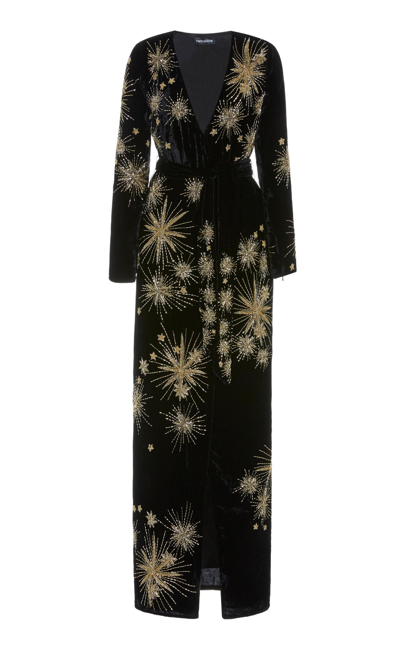 Buy Retrofête Rita Embellished Velvet Maxi Dress online, shop Retrofête at the best price