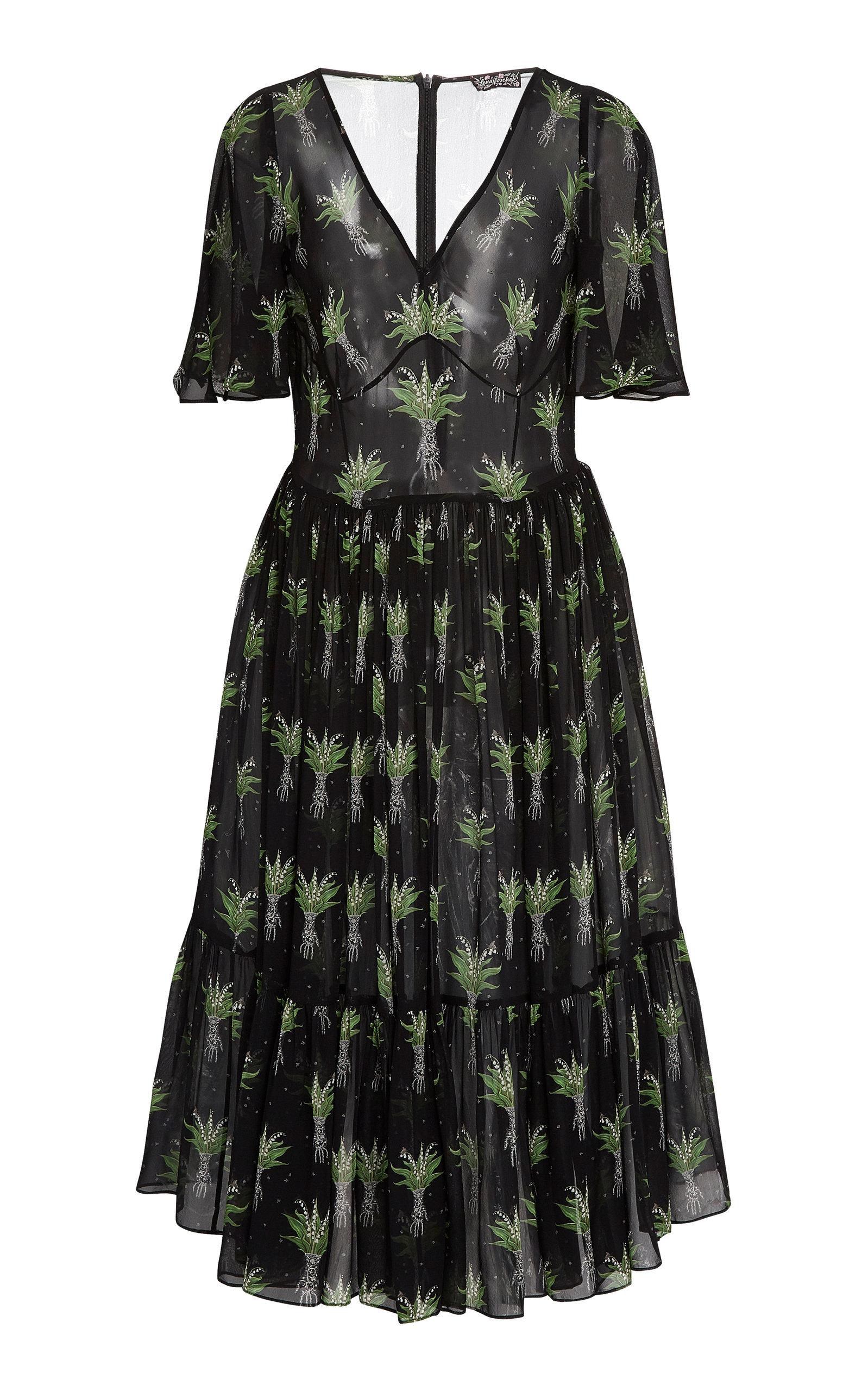 Buy Lena Hoschek Melancholia Printed Midi Dress online, shop Lena Hoschek at the best price