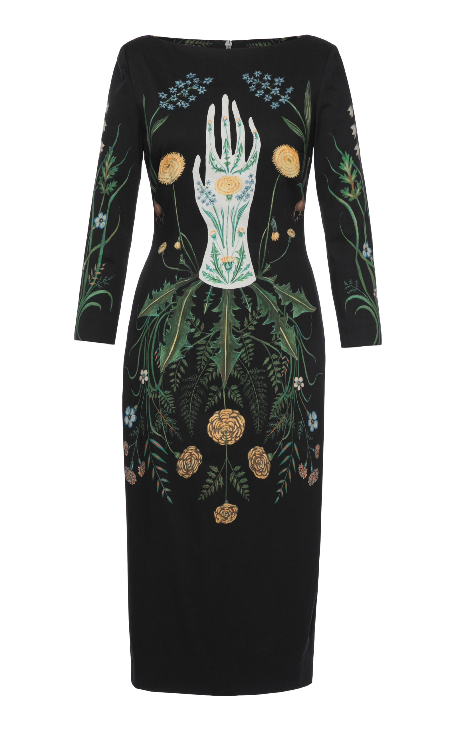 Buy Lena Hoschek Circle Of Life Printed Stretch-Cotton Midi Dress online, shop Lena Hoschek at the best price
