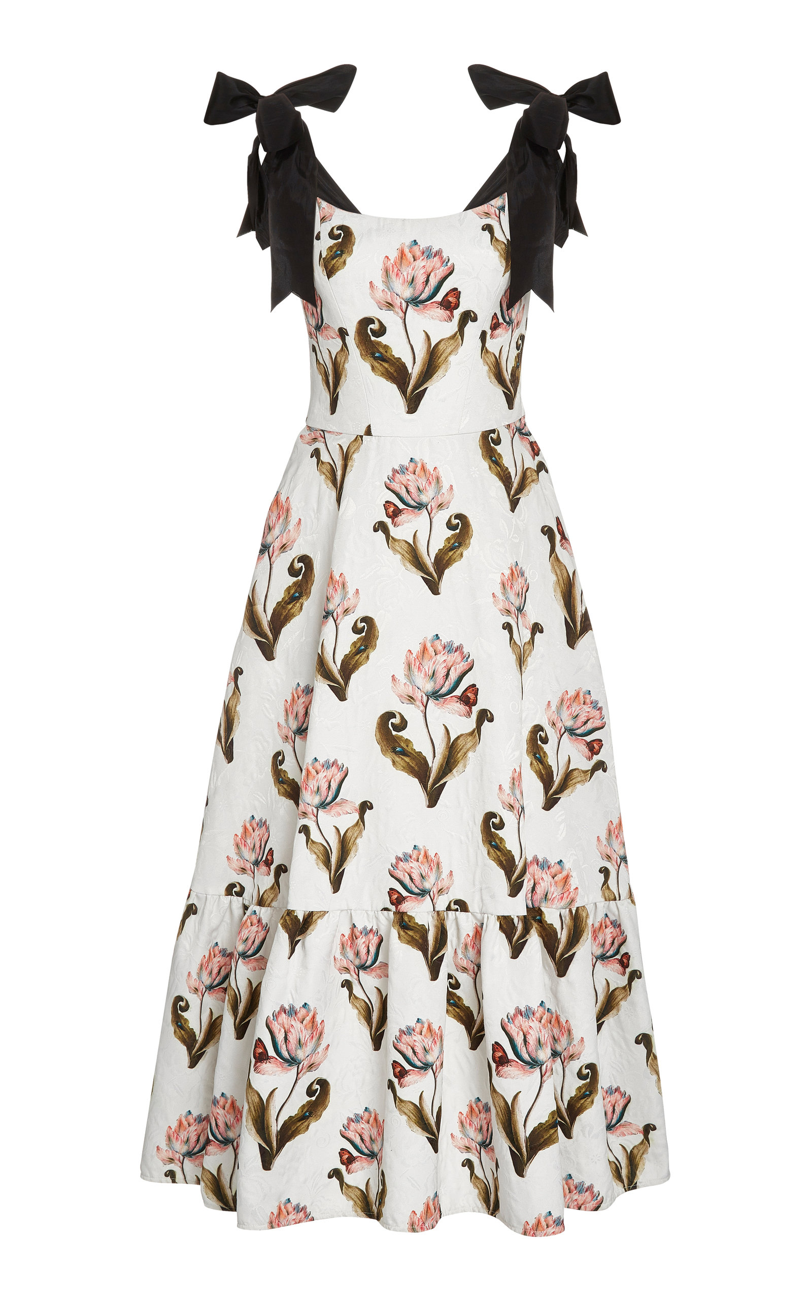 Buy Lena Hoschek Daughter Of Nature Bow-Embellished Floral-Print Maxi Dres online, shop Lena Hoschek at the best price
