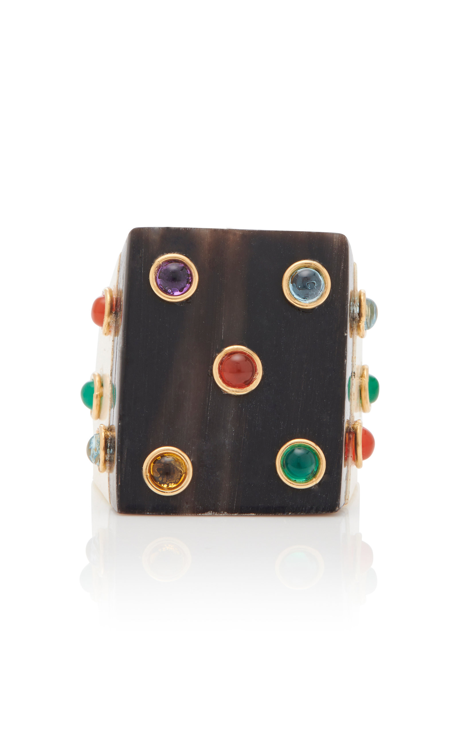 Women's Sculpted Bone and Gemstone Square Ring