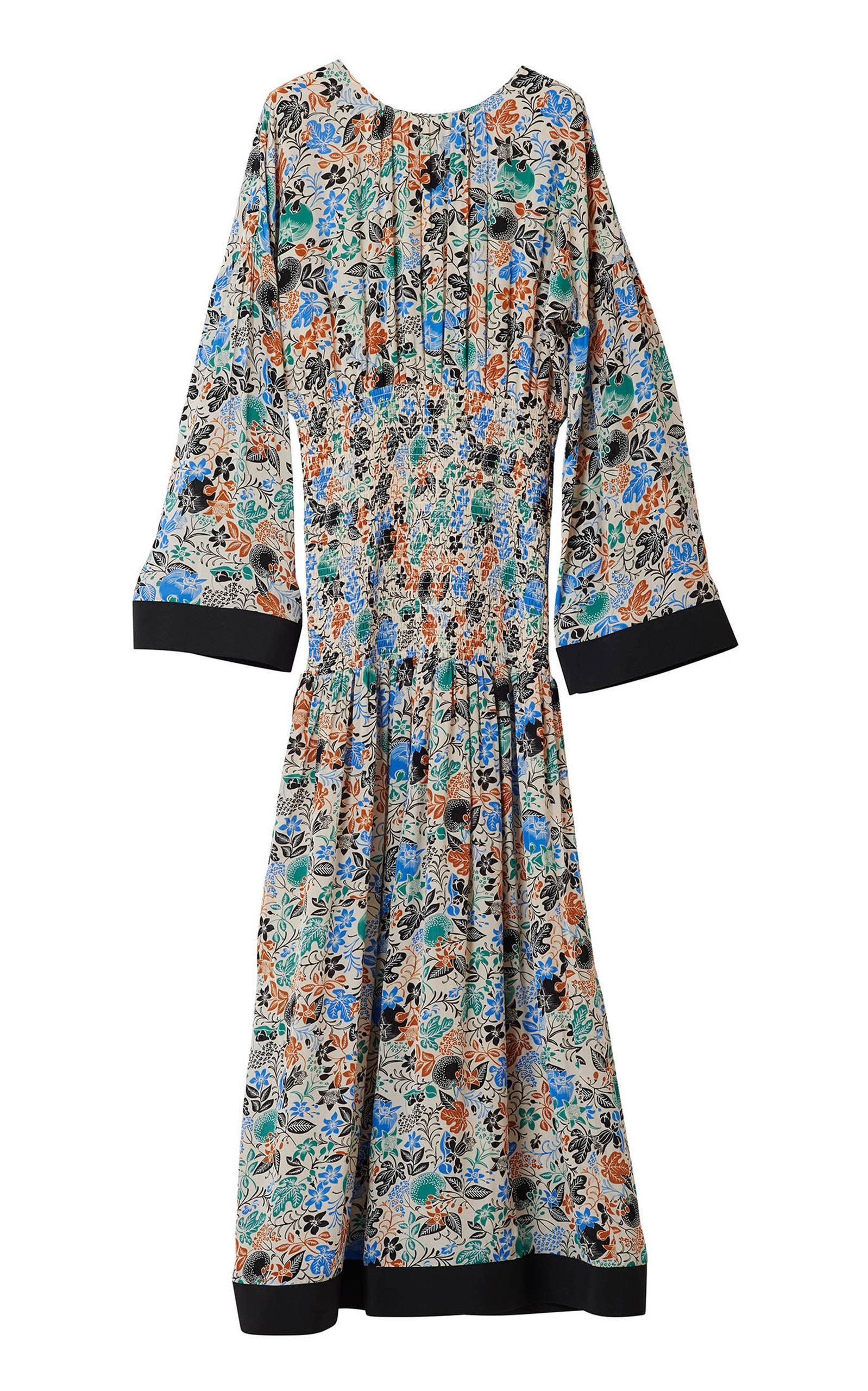 Buy Rodebjer Reham Long Sleeve Midi Floral Dress online, shop Rodebjer at the best price