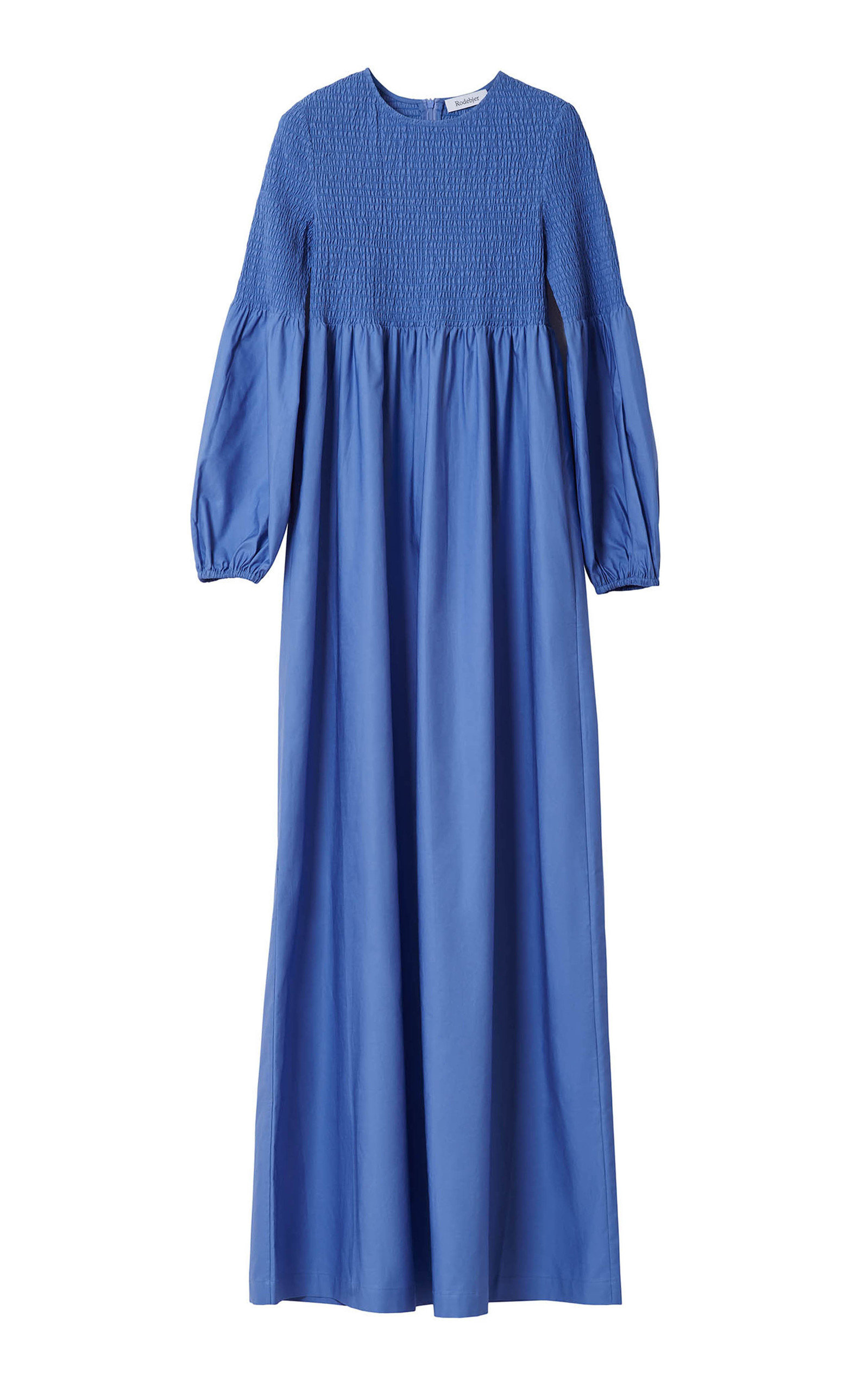 Buy Rodebjer Sandy Crisp Blouson Sleeve Smocked Maxi Dress online, shop Rodebjer at the best price