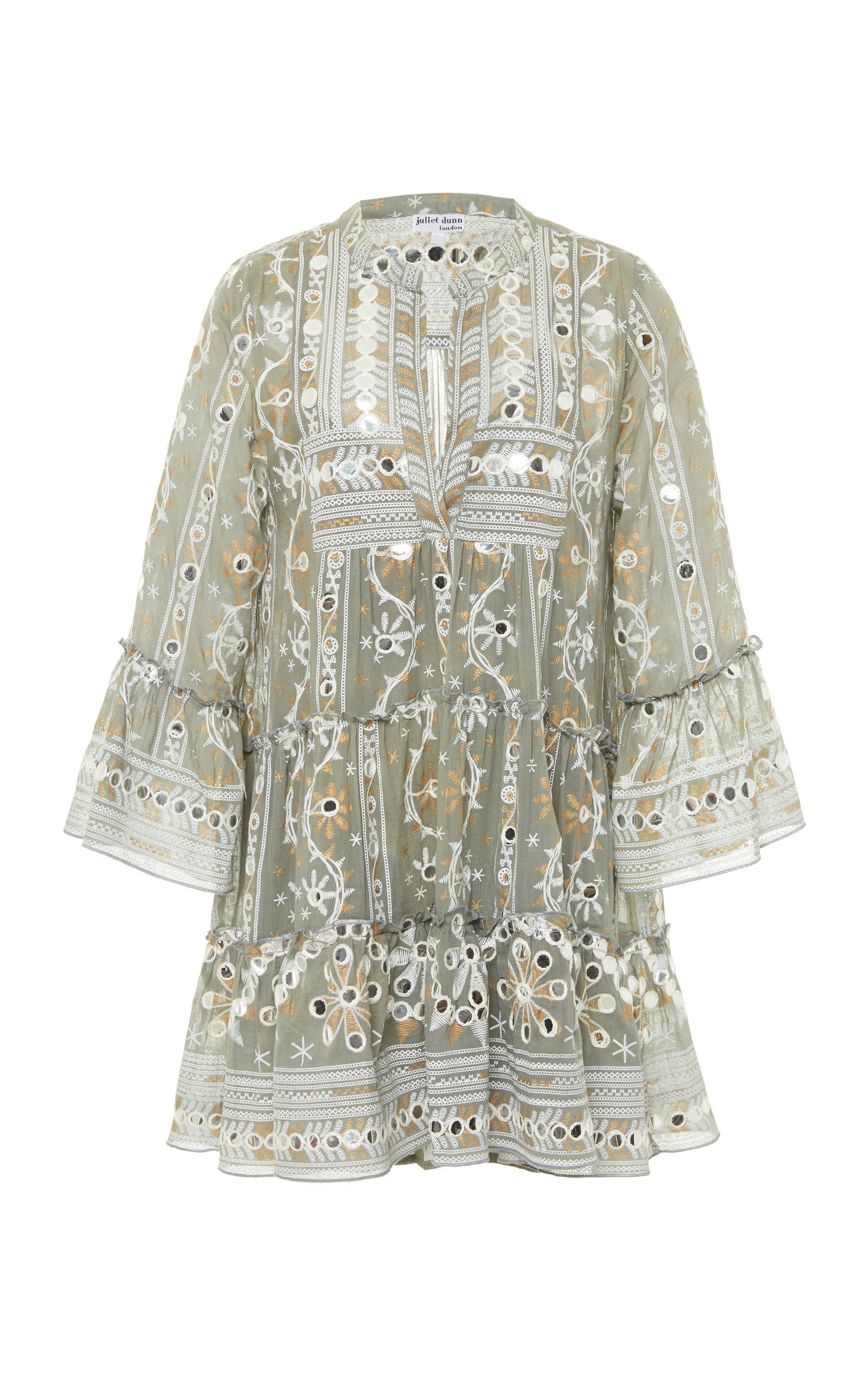 Buy Juliet Dunn Embellished Printed Cotton Mini Dress online, shop Juliet Dunn at the best price