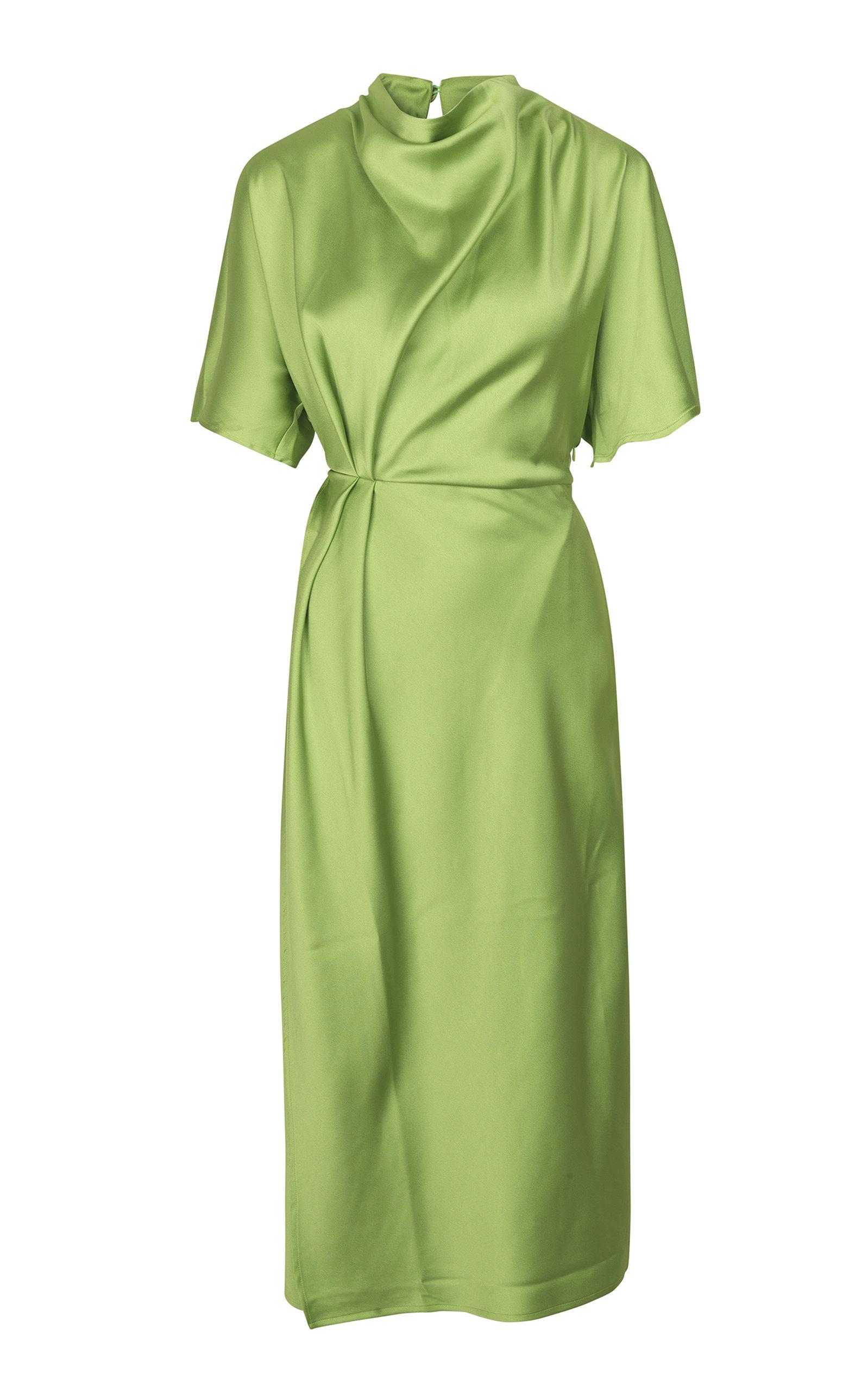 Buy Stine Goya Rhode Ruched Sateen Midi Dress online, shop Stine Goya at the best price