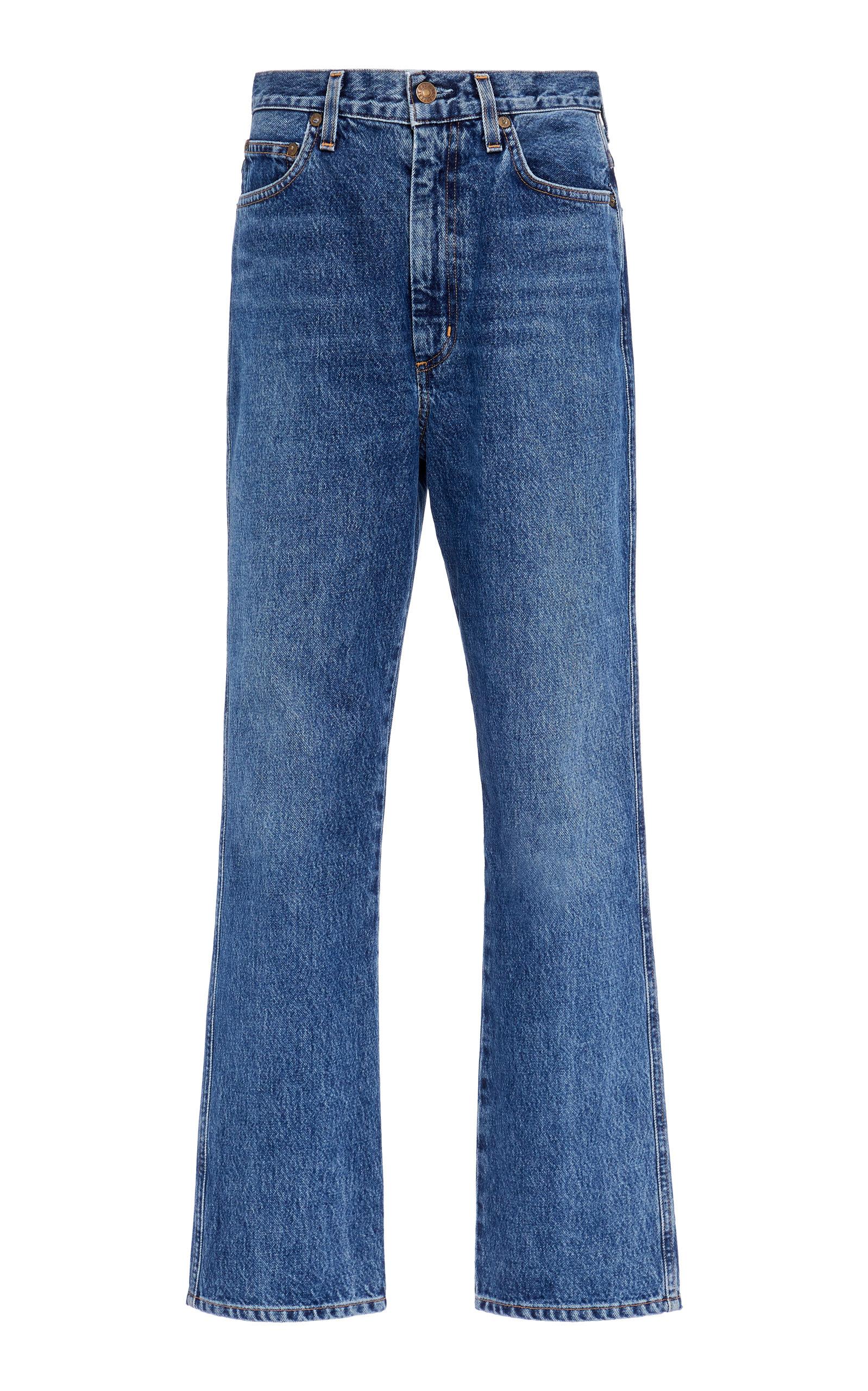 Agolde - Women's Pinch-Waist Rigid High-Rise Kick-Leg Jeans - Medium Wash - Moda Operandi