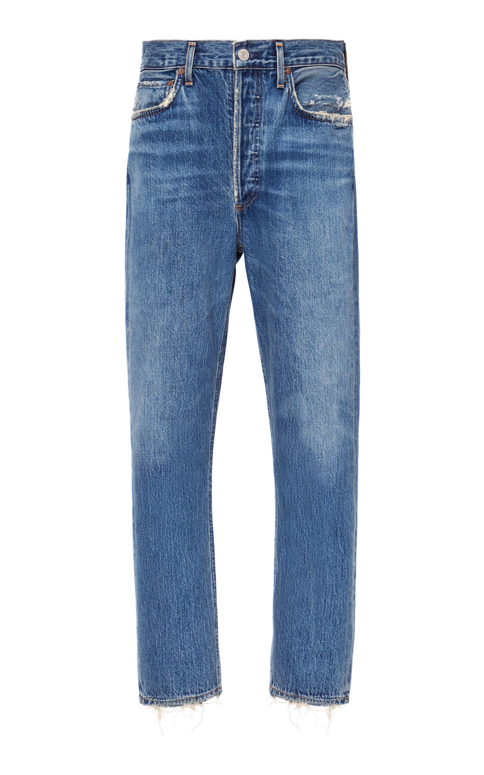Agolde - Women's Riley Cropped High-Rise Straight-Leg Jeans - Medium Wash - Moda Operandi