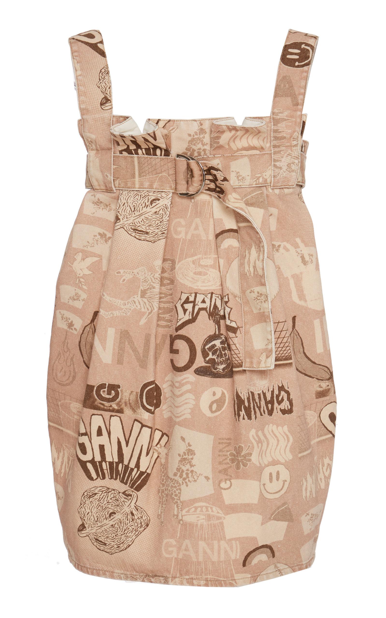 Buy Ganni Printed Denim Printed Mini Dress online, shop Ganni at the best price