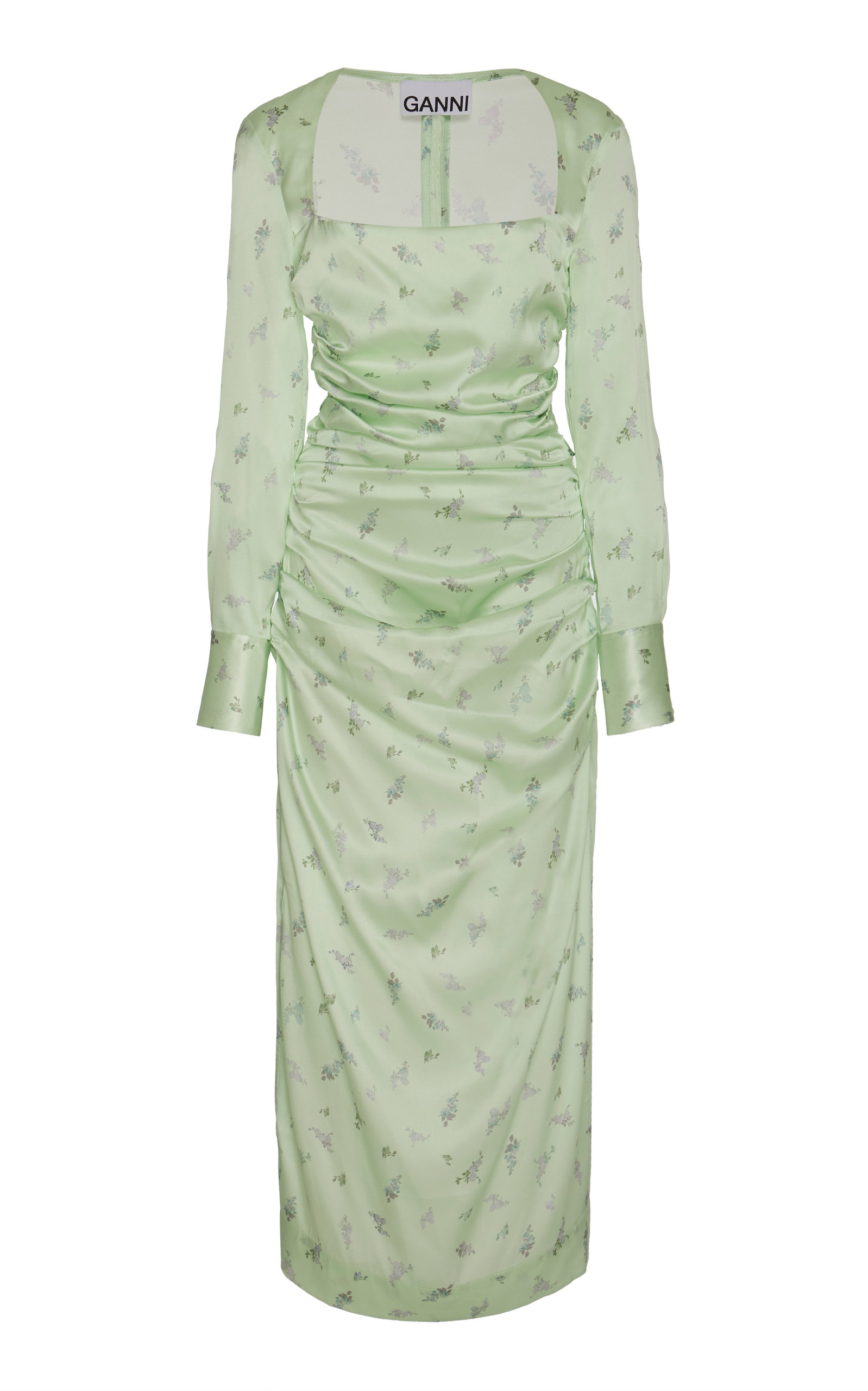 Buy Ganni Floral-Print Silk-Blend Satin Midi Dress online, shop Ganni at the best price