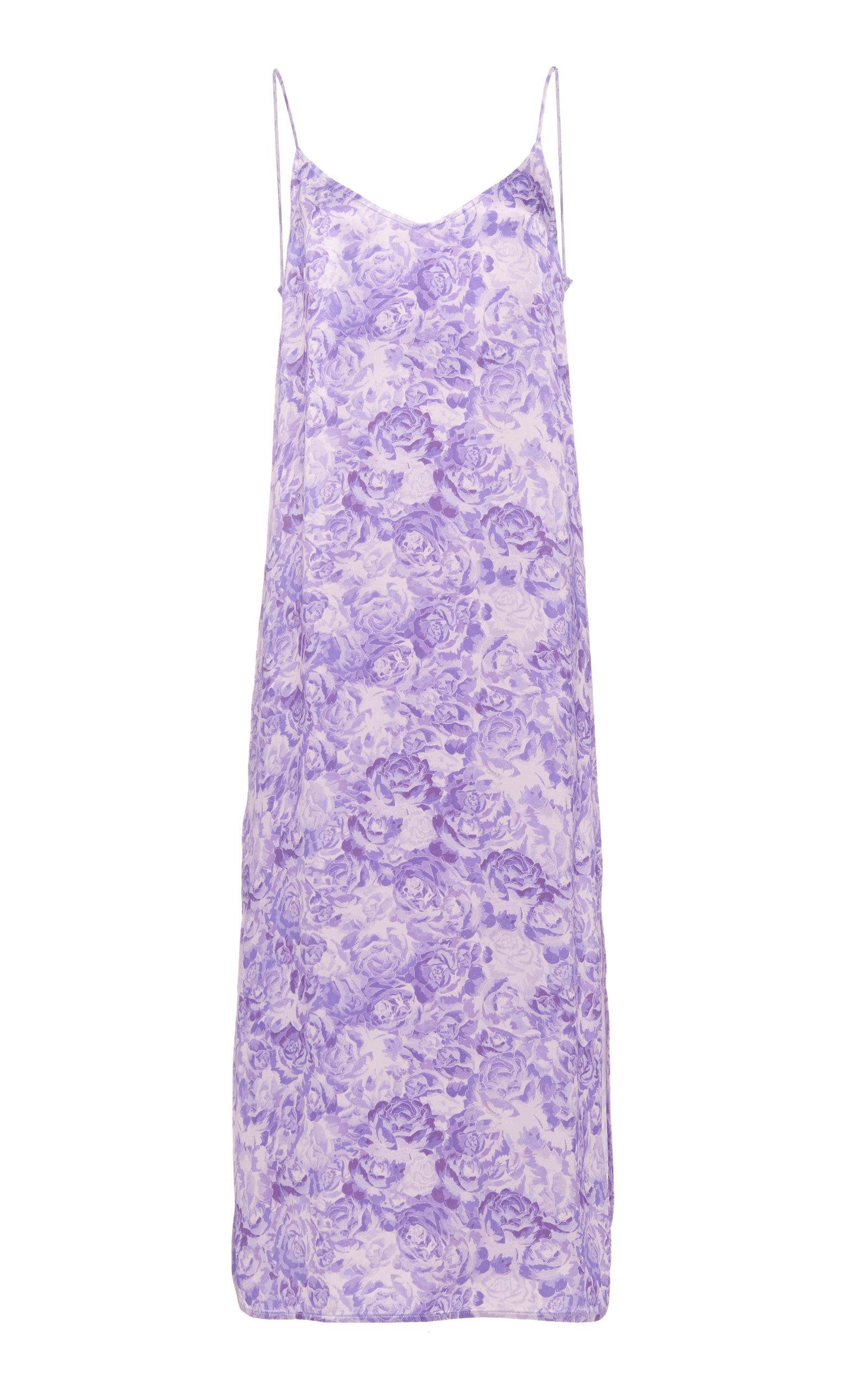 Buy Ganni Floral-Print Satin Slip Dress online, shop Ganni at the best price