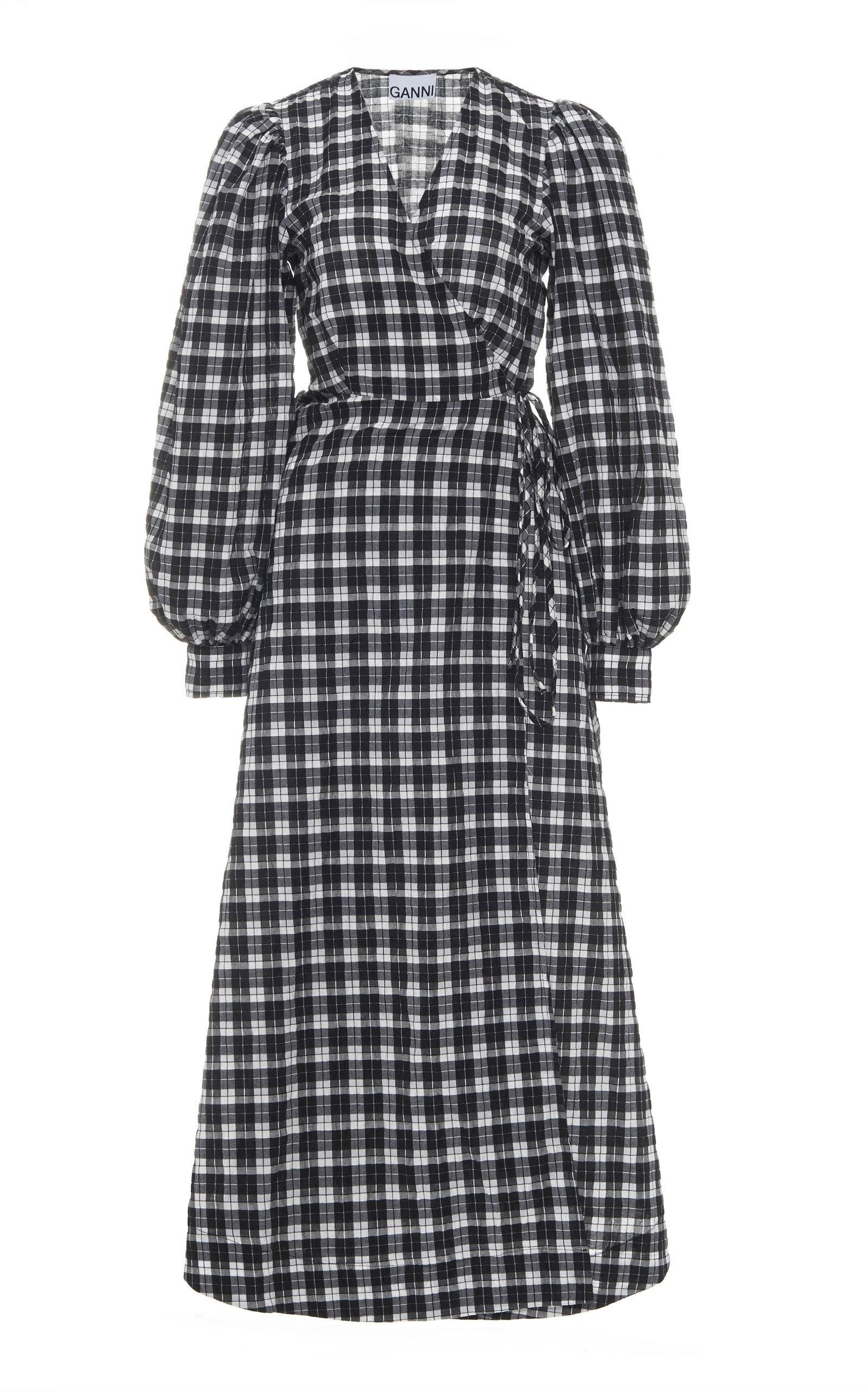 Buy Ganni Checked Seersucker Wrap Midi Dress online, shop Ganni at the best price