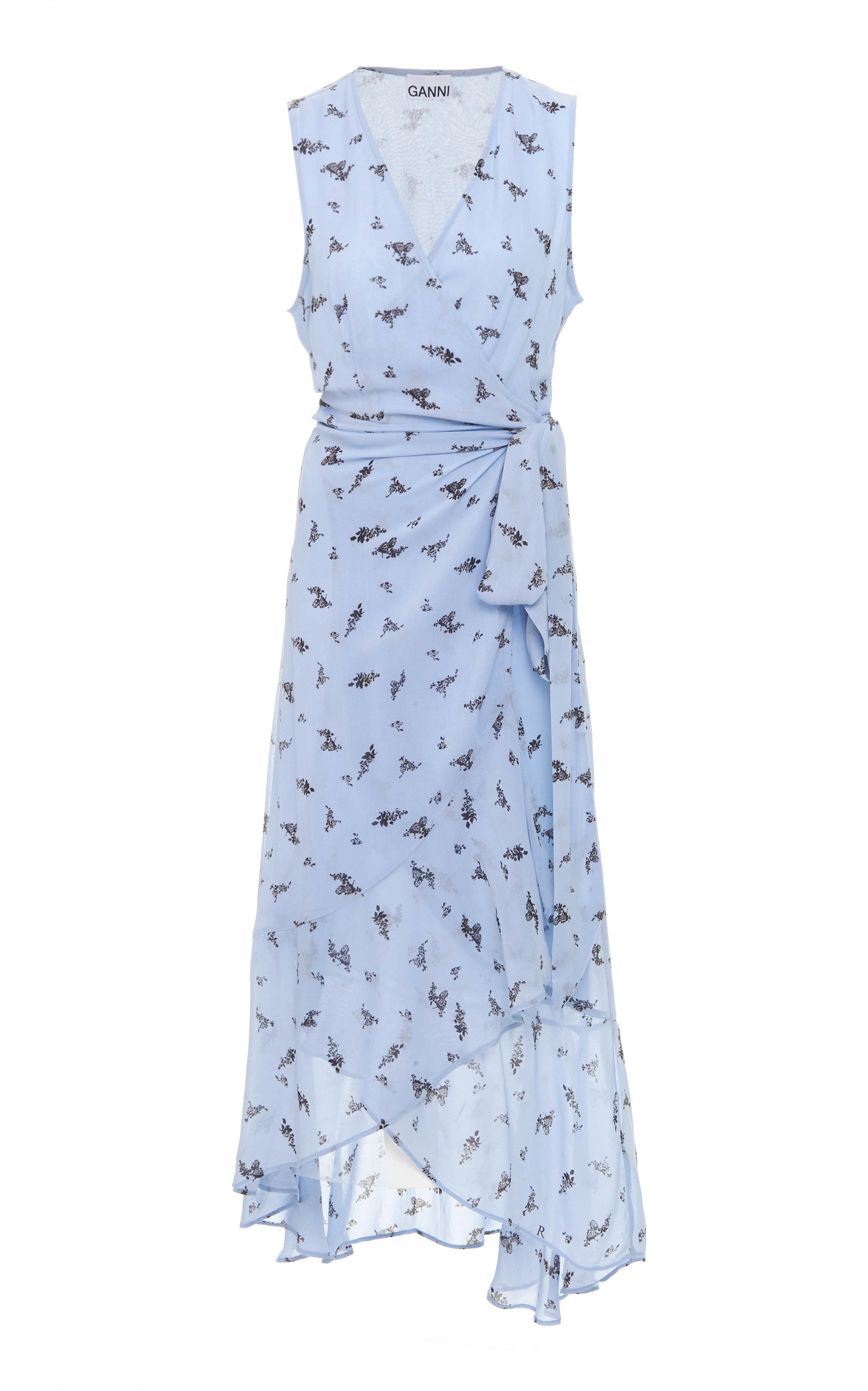 Buy Ganni Printed Georgette Wrap Midi Dress online, shop Ganni at the best price