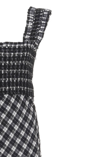 Smocked Checked Seersucker Midi Dress By Ganni Moda Operandi