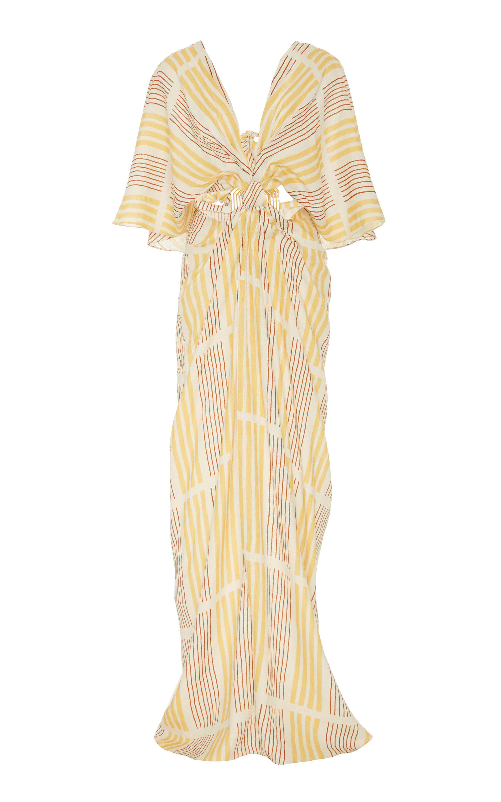 Buy Johanna Ortiz Paradise Striped Linen Cutout Maxi Dress online, shop Johanna Ortiz at the best price
