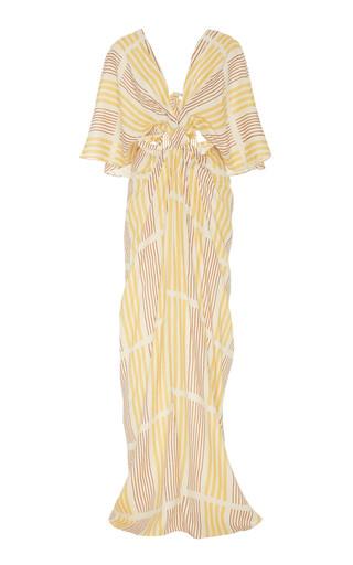 Johanna Ortiz PARADISE STRIPED LINEN CUTOUT MAXI DRESS
