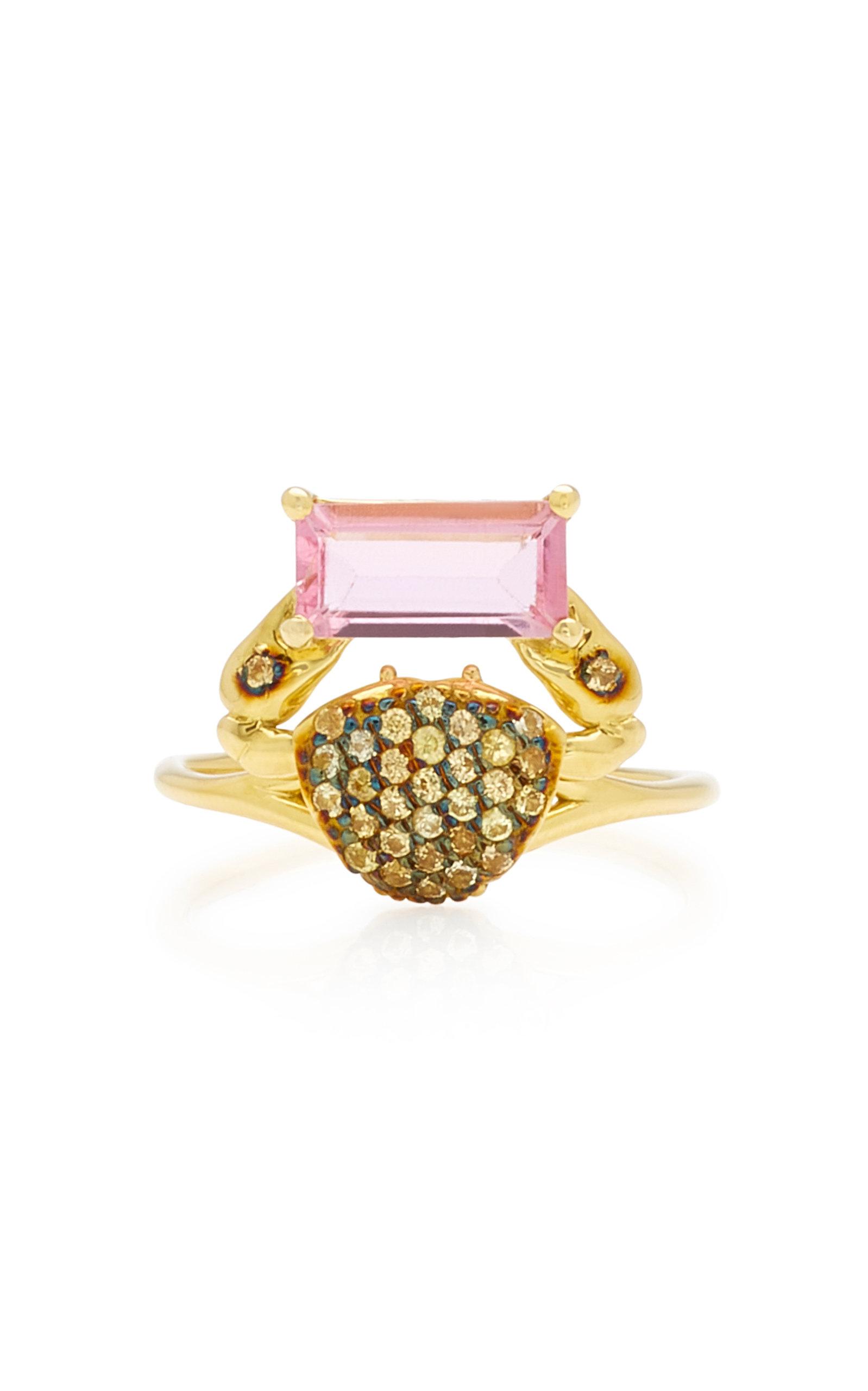 Women's Cosquilleo 18K Gold; Tourmaline and Sapphire Ring