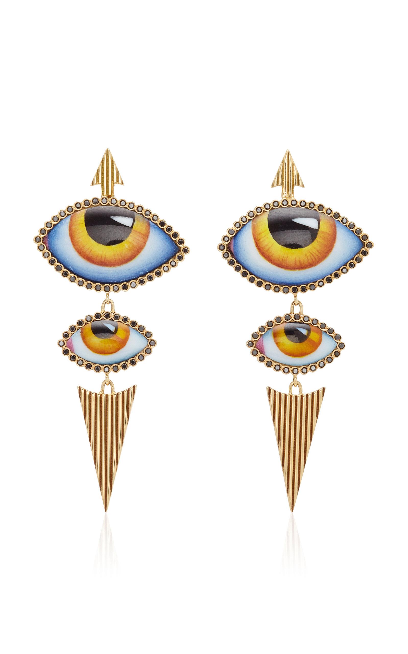 Women's 14K Gold Yellow Enamel Eye and Diamond Earrings