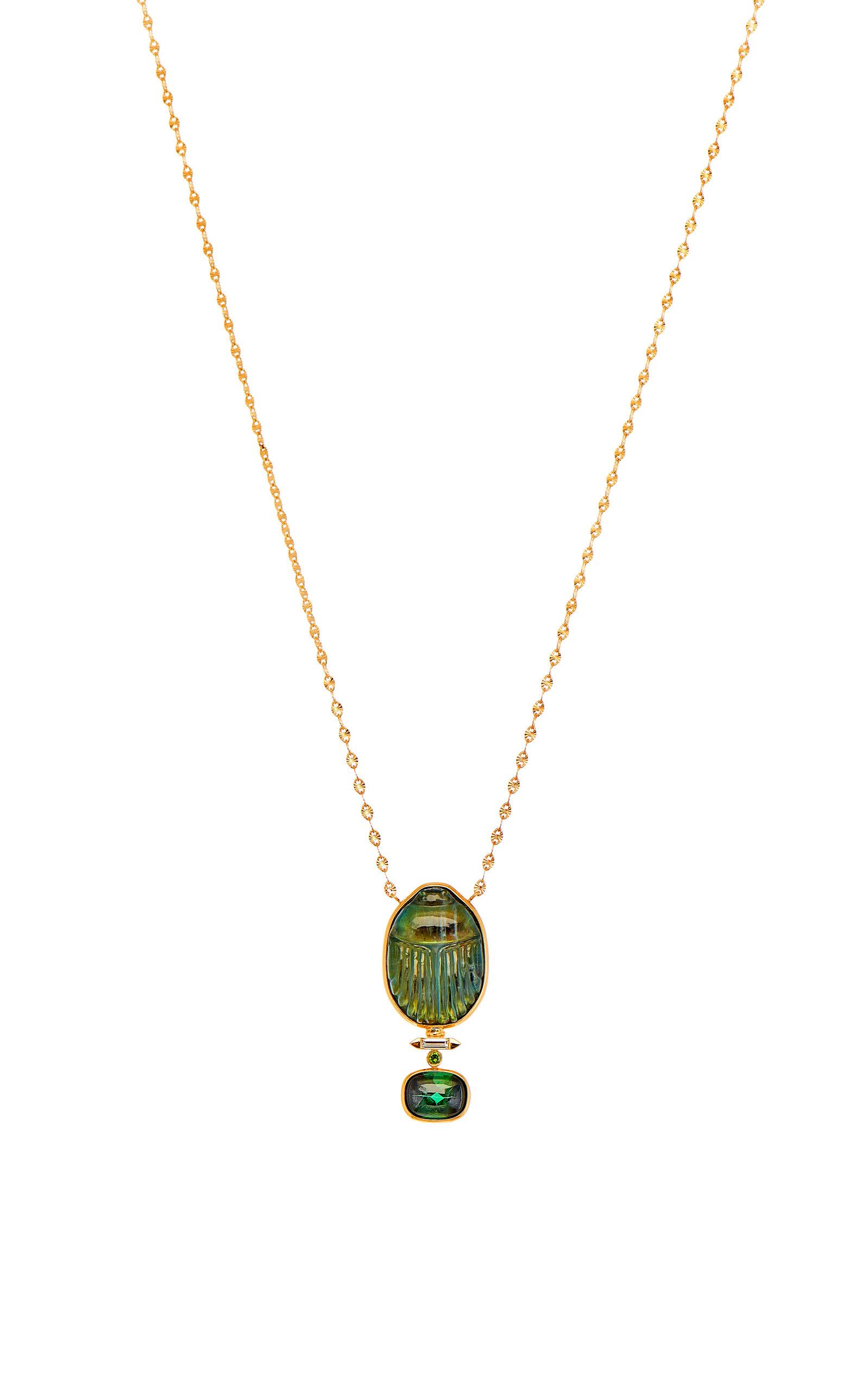 Women's Labradorite Scarab Necklace