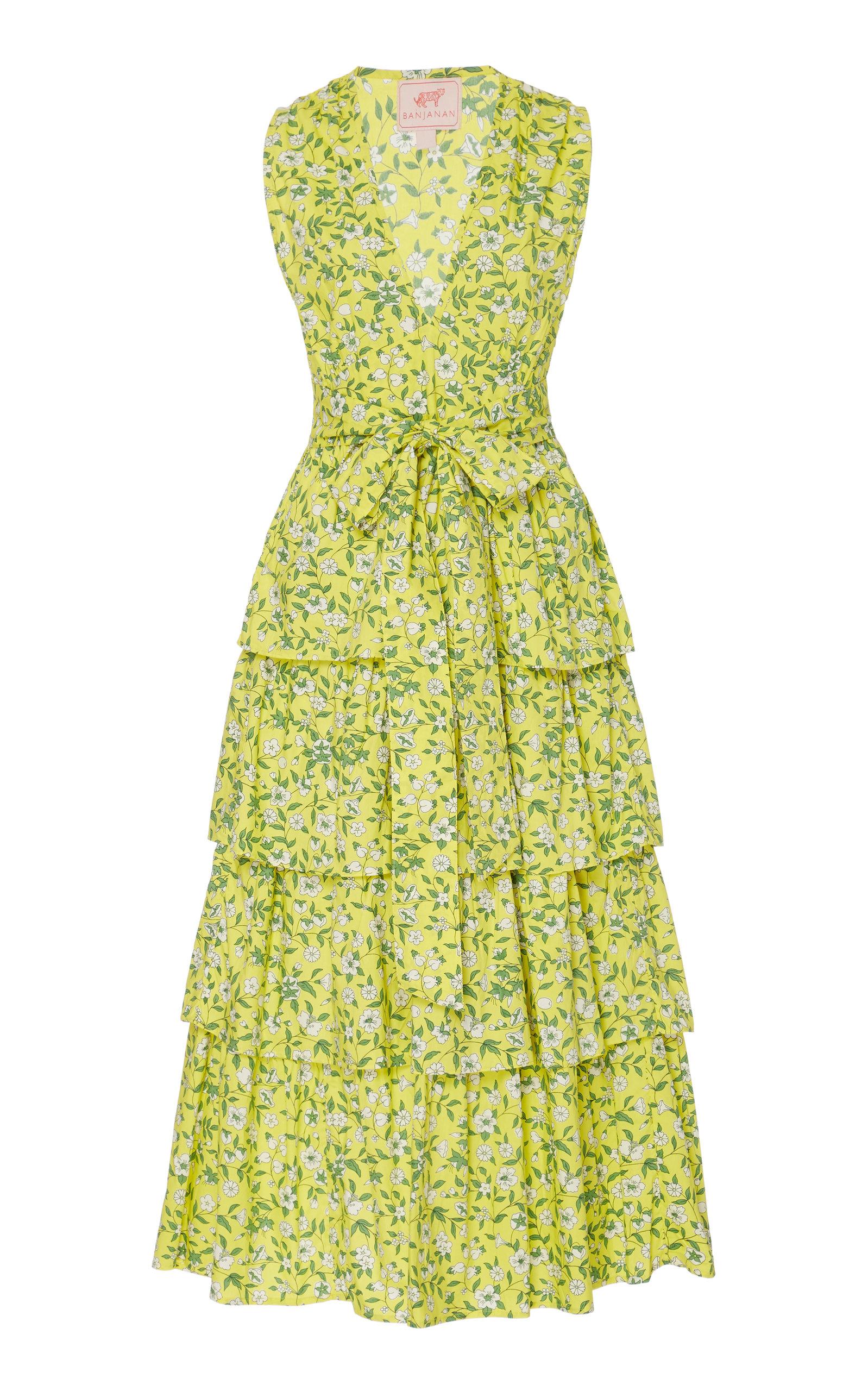 Buy Banjanan Eliza Ruffled Cotton Midi Dress online, shop Banjanan at the best price