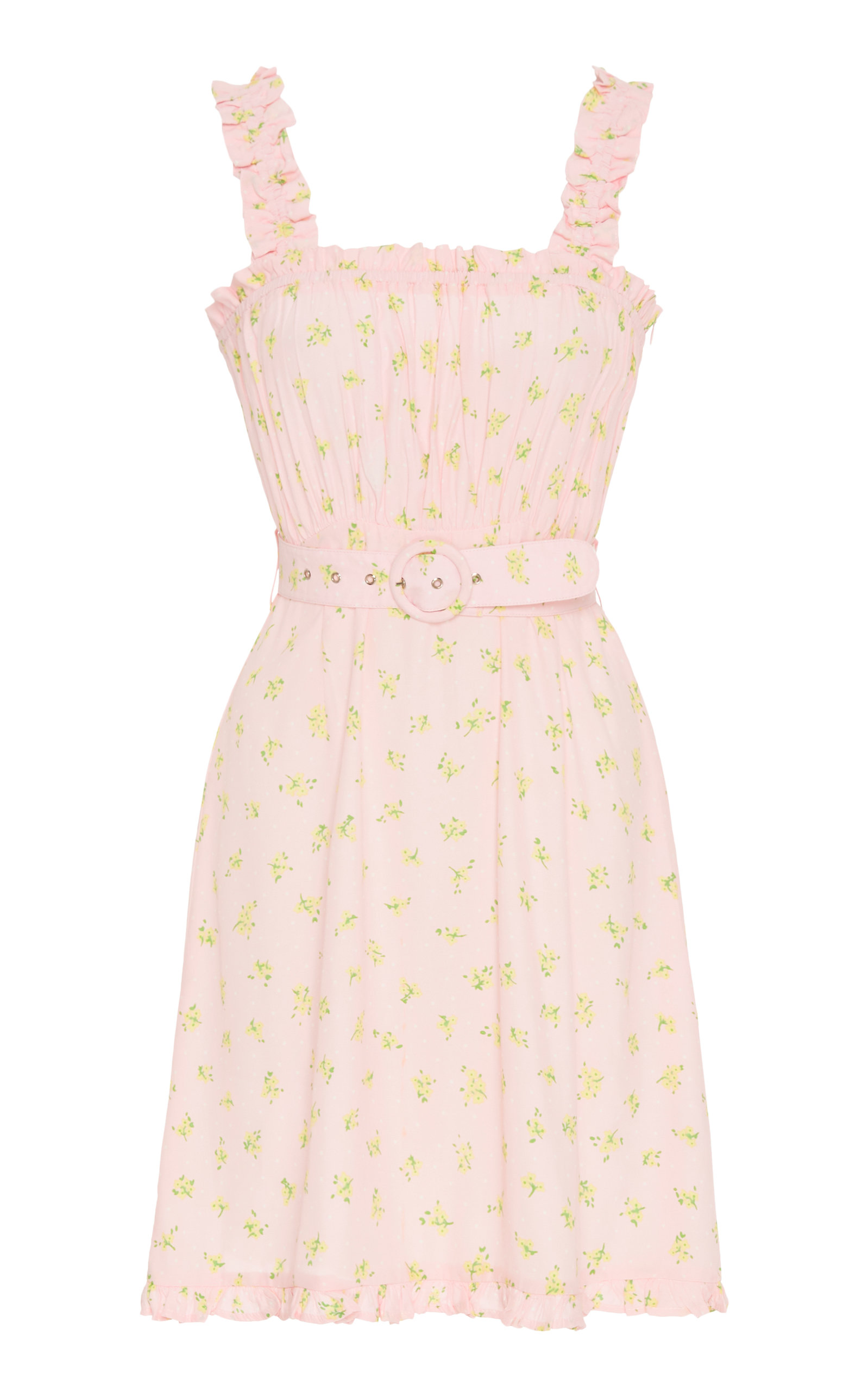 Buy Faithfull The Brand Belted Ruffled Floral-Print Crepe Mini Dress online, shop Faithfull The Brand at the best price