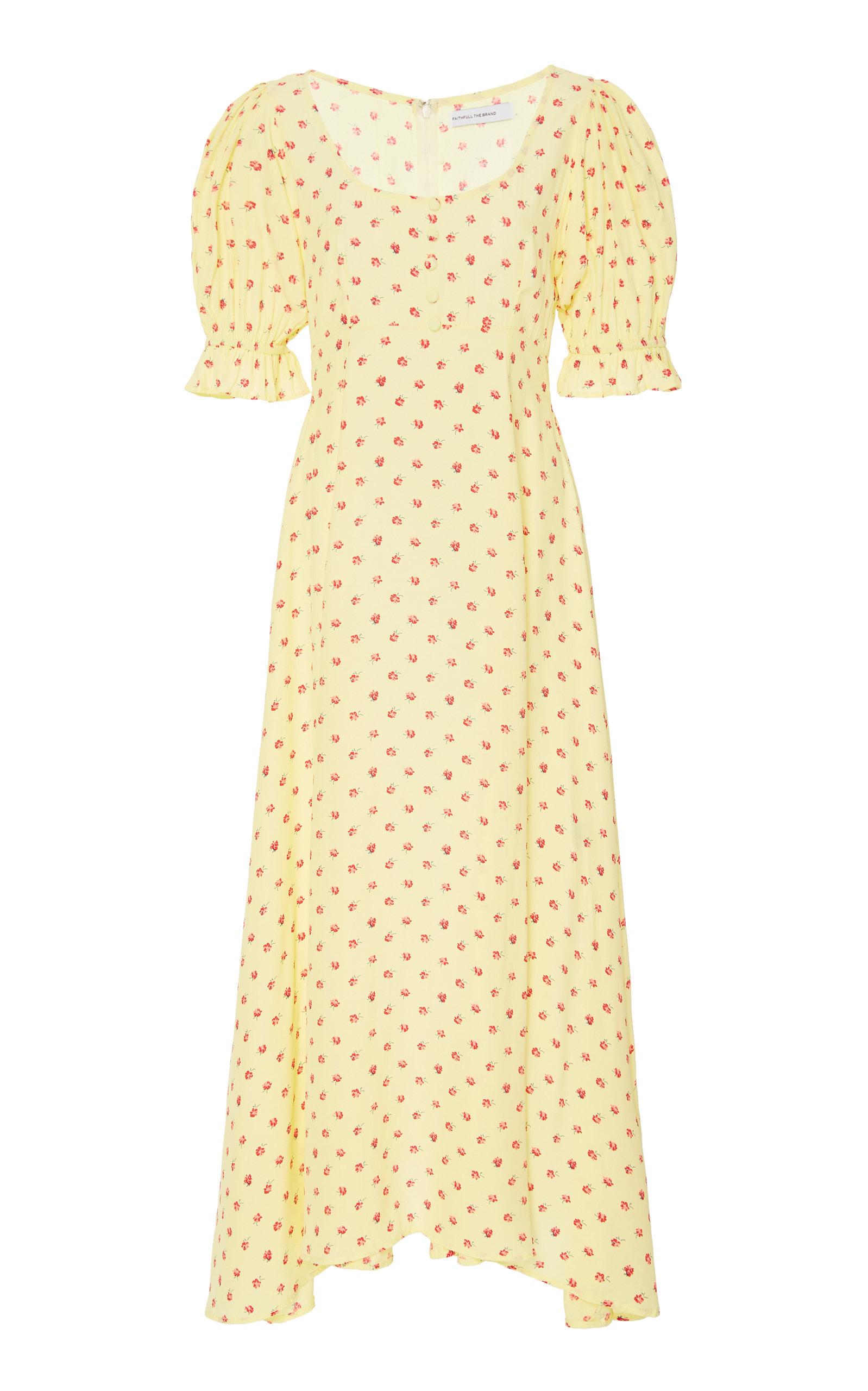 Buy Faithfull The Brand Linnie Floral-Print Crepe Midi Dress online, shop Faithfull The Brand at the best price