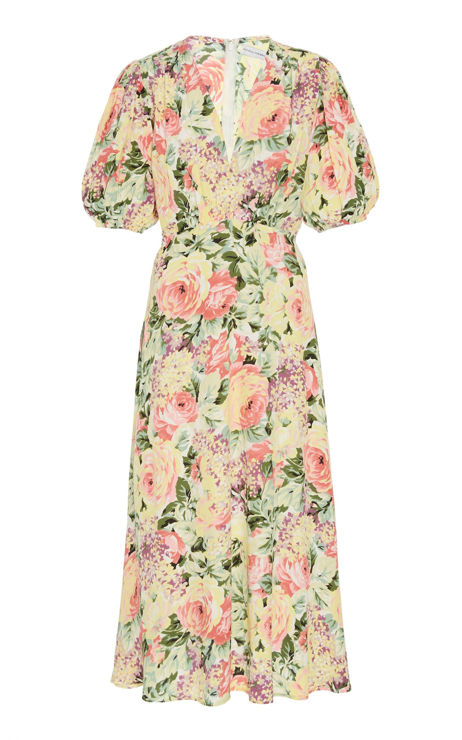 Buy Faithfull The Brand Vittoria Floral-Print Crepe Midi Dress online, shop Faithfull The Brand at the best price
