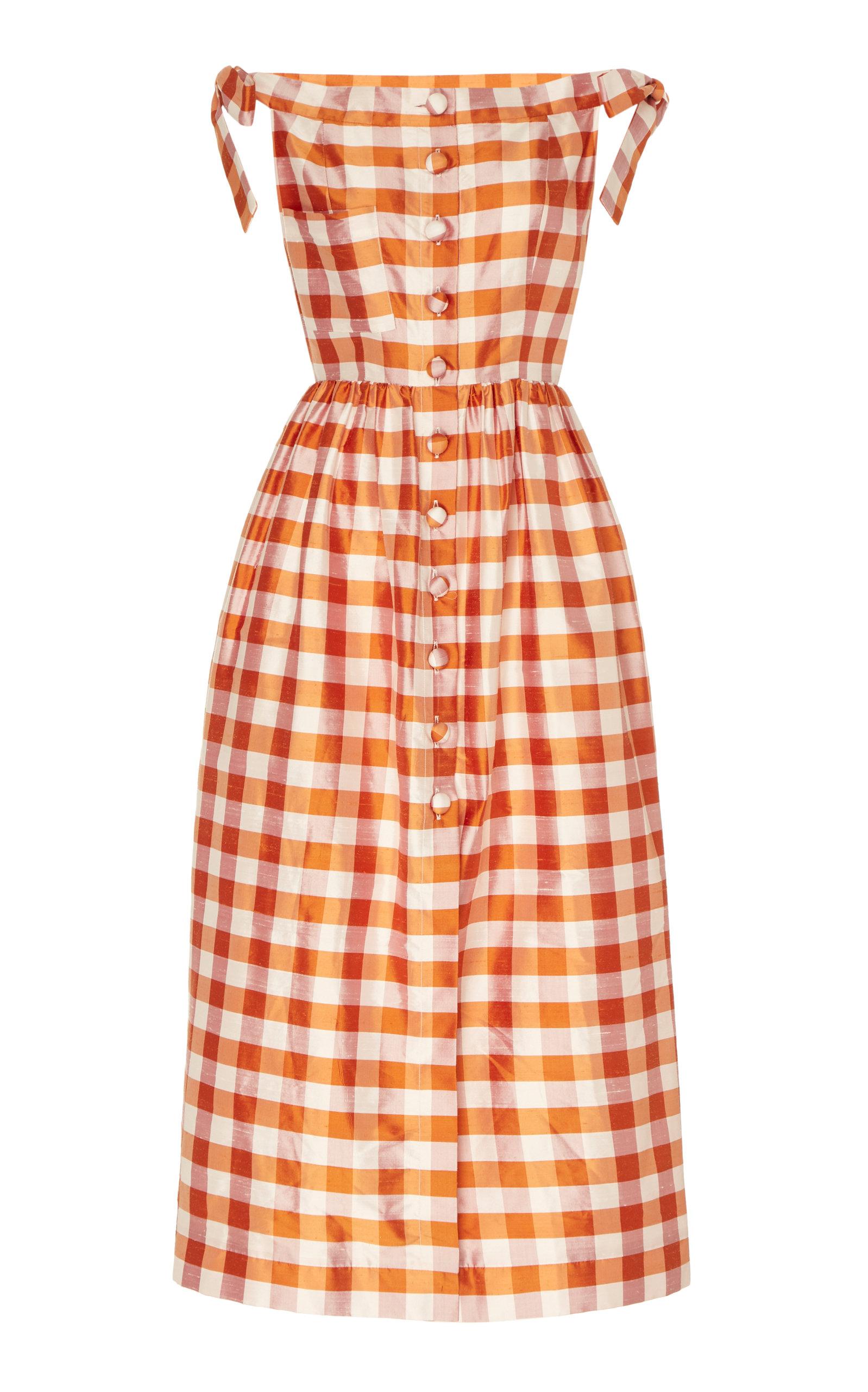 Buy Markarian Panfilo Gingham Silk-Taffeta Midi Dress online, shop Markarian at the best price