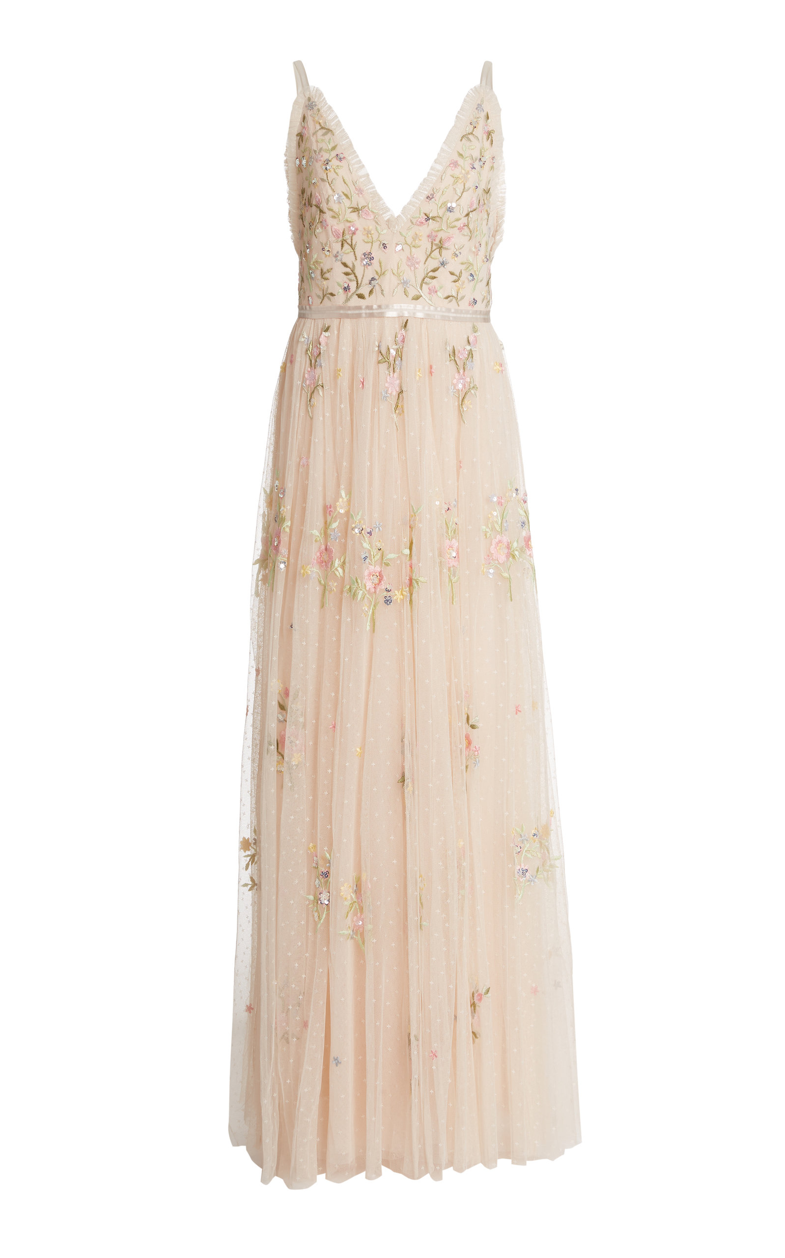 Buy Needle & Thread Petunia Floral-Embroidered Tulle Gown online, shop Needle & Thread at the best price