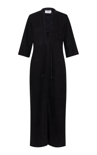 Dorothee Schumacher VELOUR SOFTNESS LEATHER MIDI DRESS