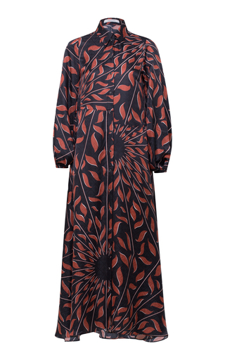 Dorothee Schumacher GRAPHIC RAY SILK MIDI DRESS