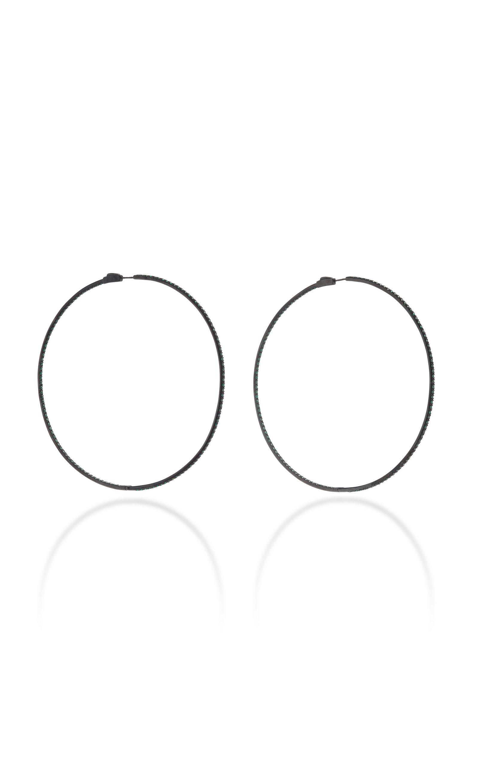 Women's Starlight Rhodium-Plated Sterling Silver And Tsavorite Hoop Earrings