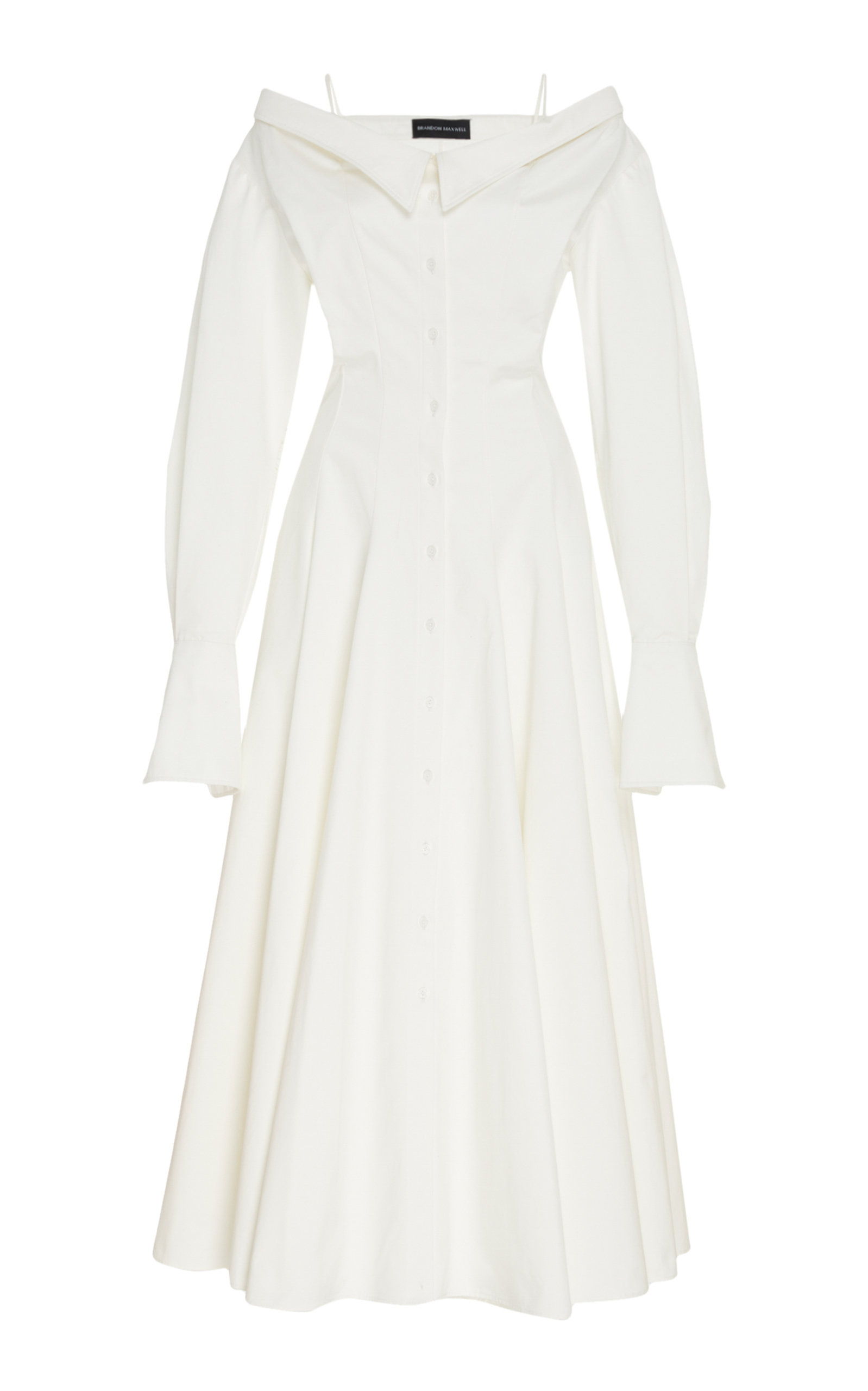 Buy Brandon Maxwell Off-The-Shoulder Cotton Midi Shirt Dress online, shop Brandon Maxwell at the best price